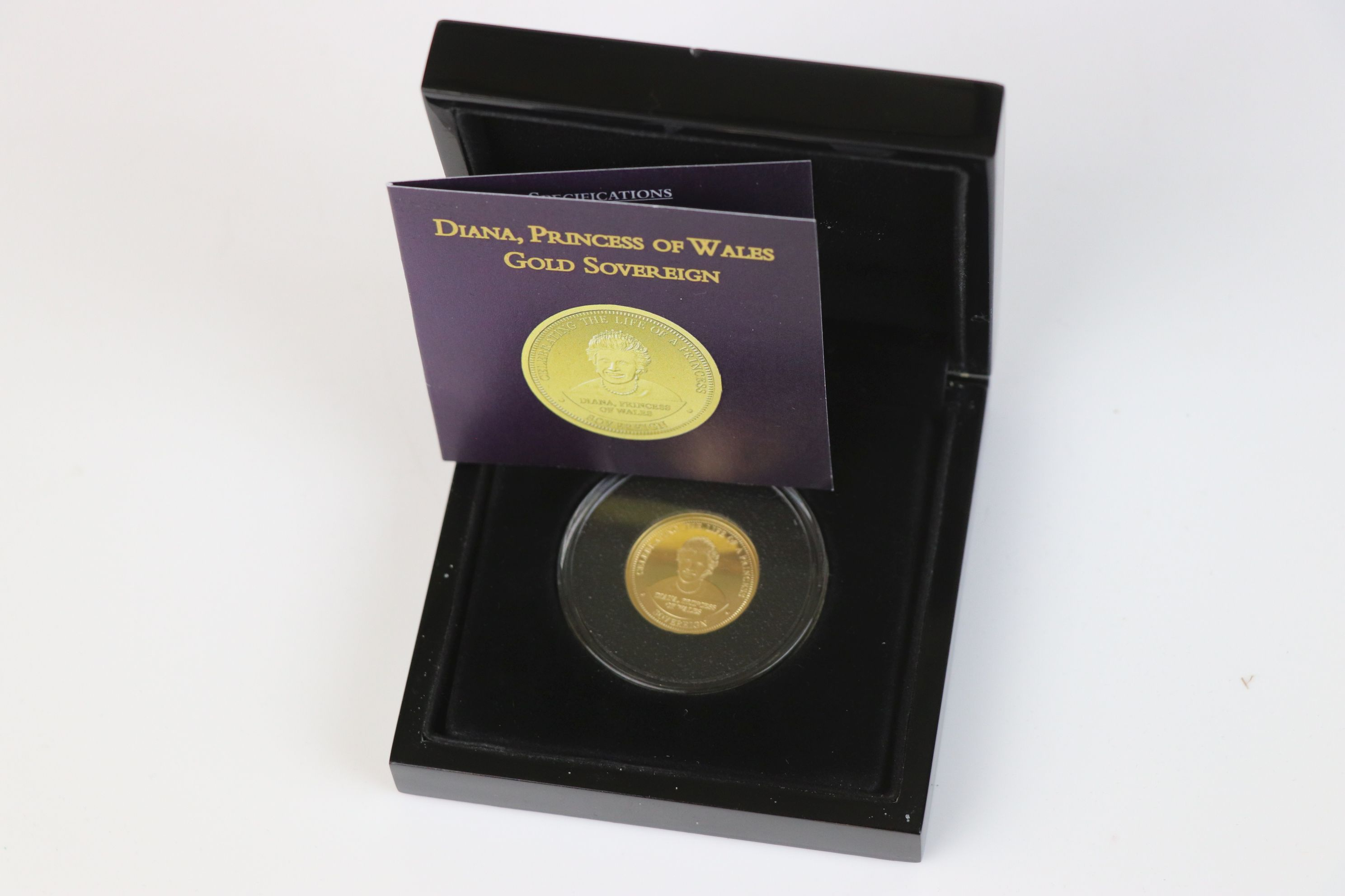 A cased Bradford Exchange limited edition Tristan Da Cunha 2007 Diana Princess of Wales gold proof