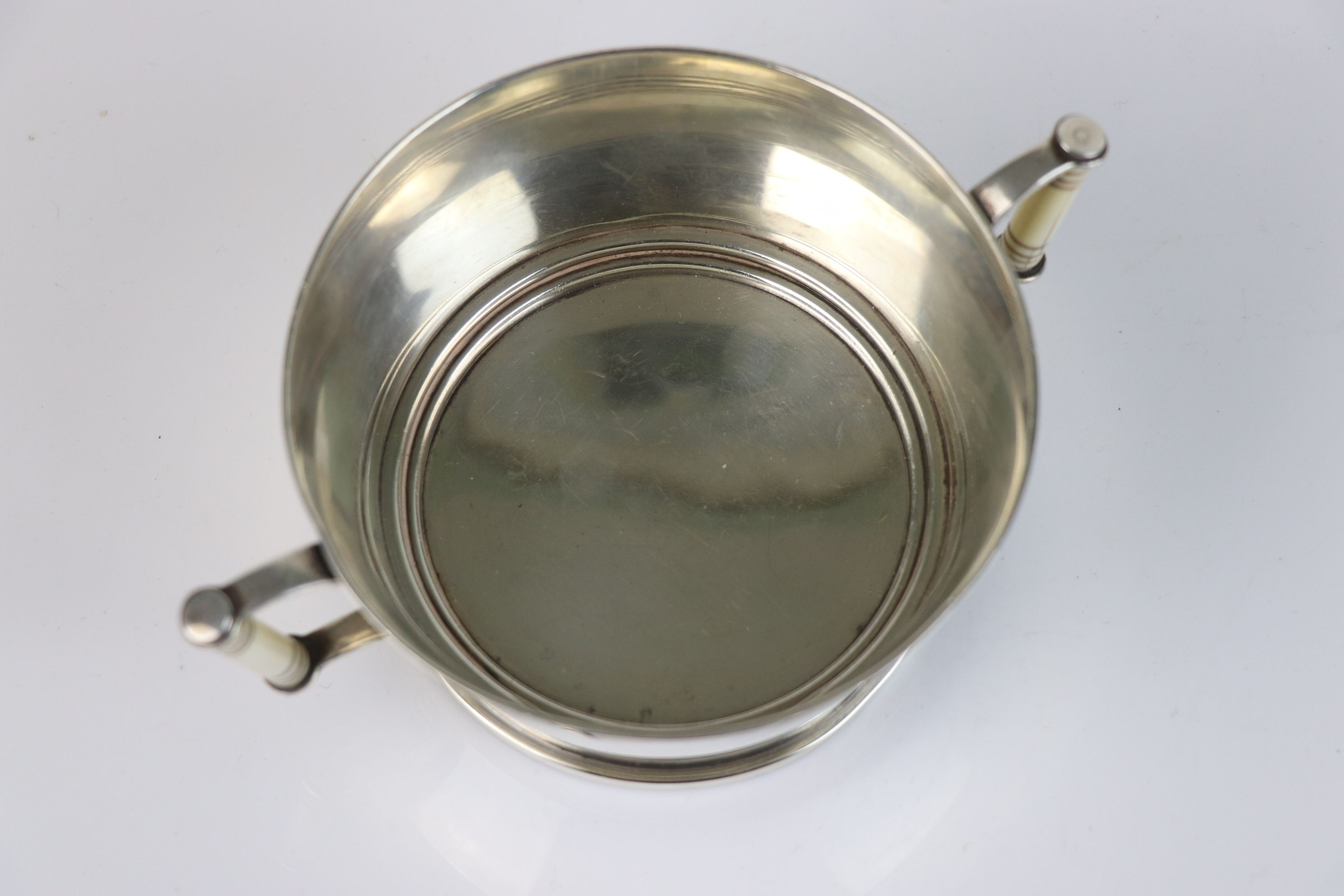 A fully hallmarked Britannia silver double handled christening cup with decorative ivory handles, - Image 4 of 5