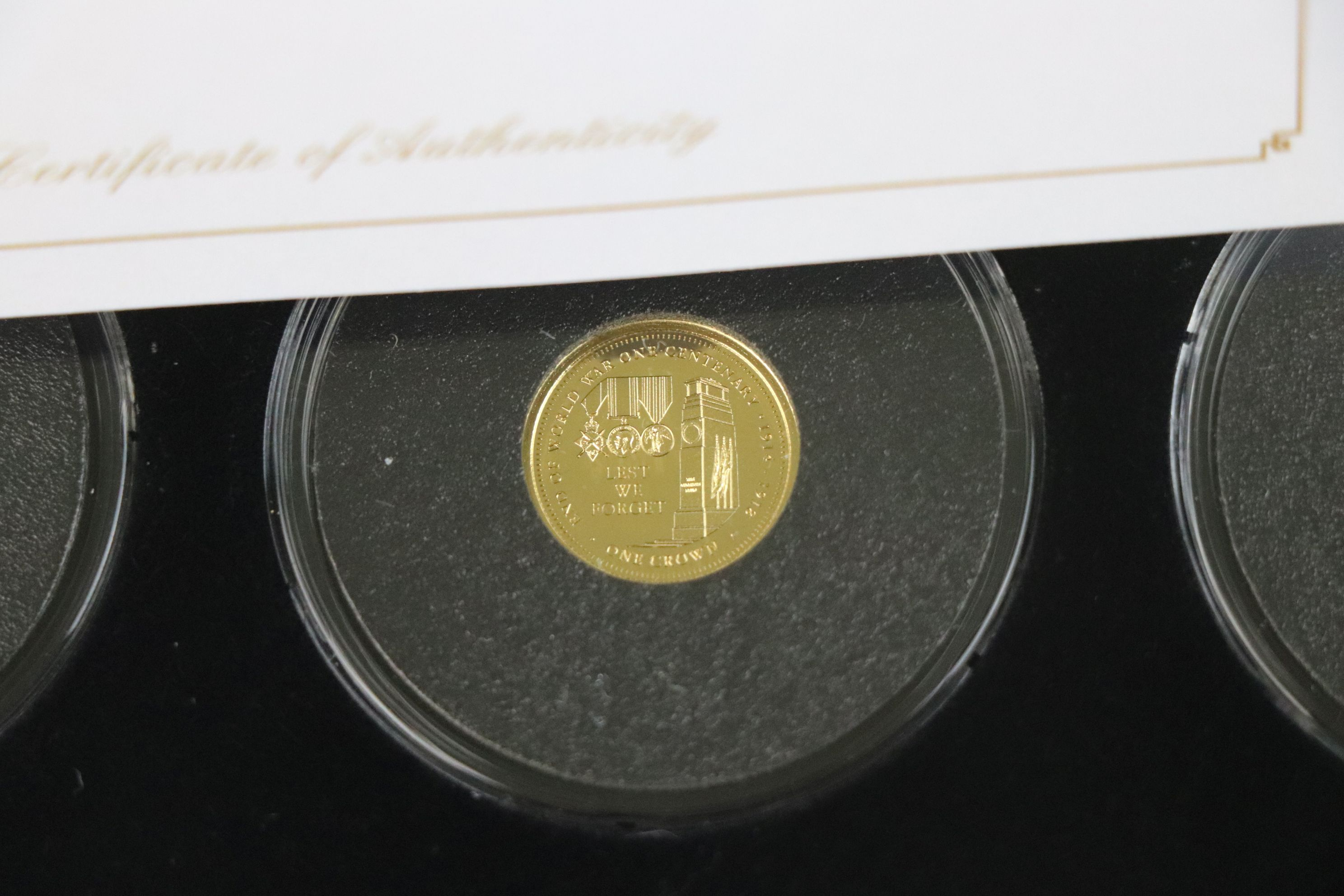 A cased Jubilee Mint limited edition The Centenary of World War One 9ct gold three coin set, - Image 4 of 7