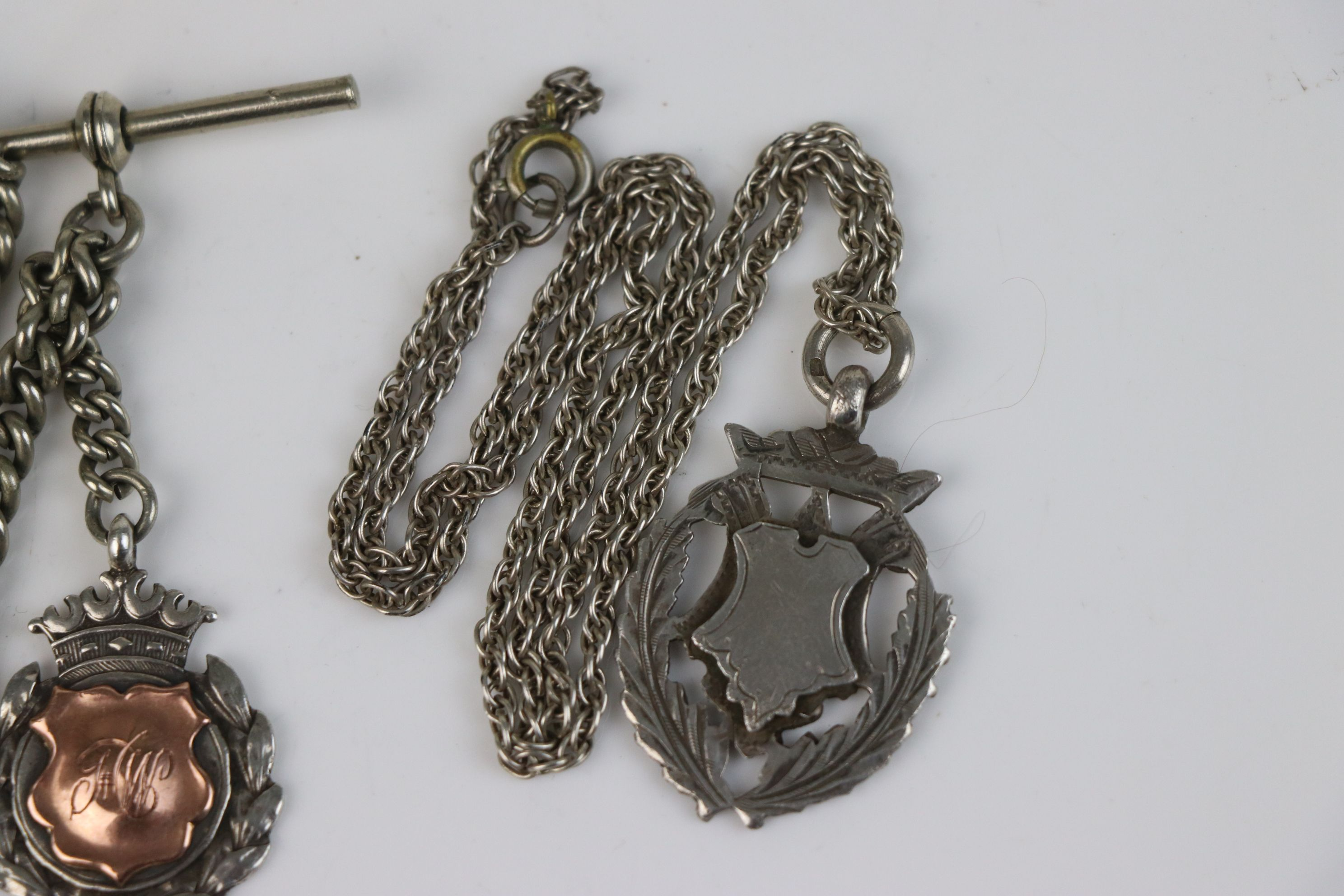 Two fully hallmarked sterling silver watch fob medallions together with an Albert chain. - Image 4 of 5