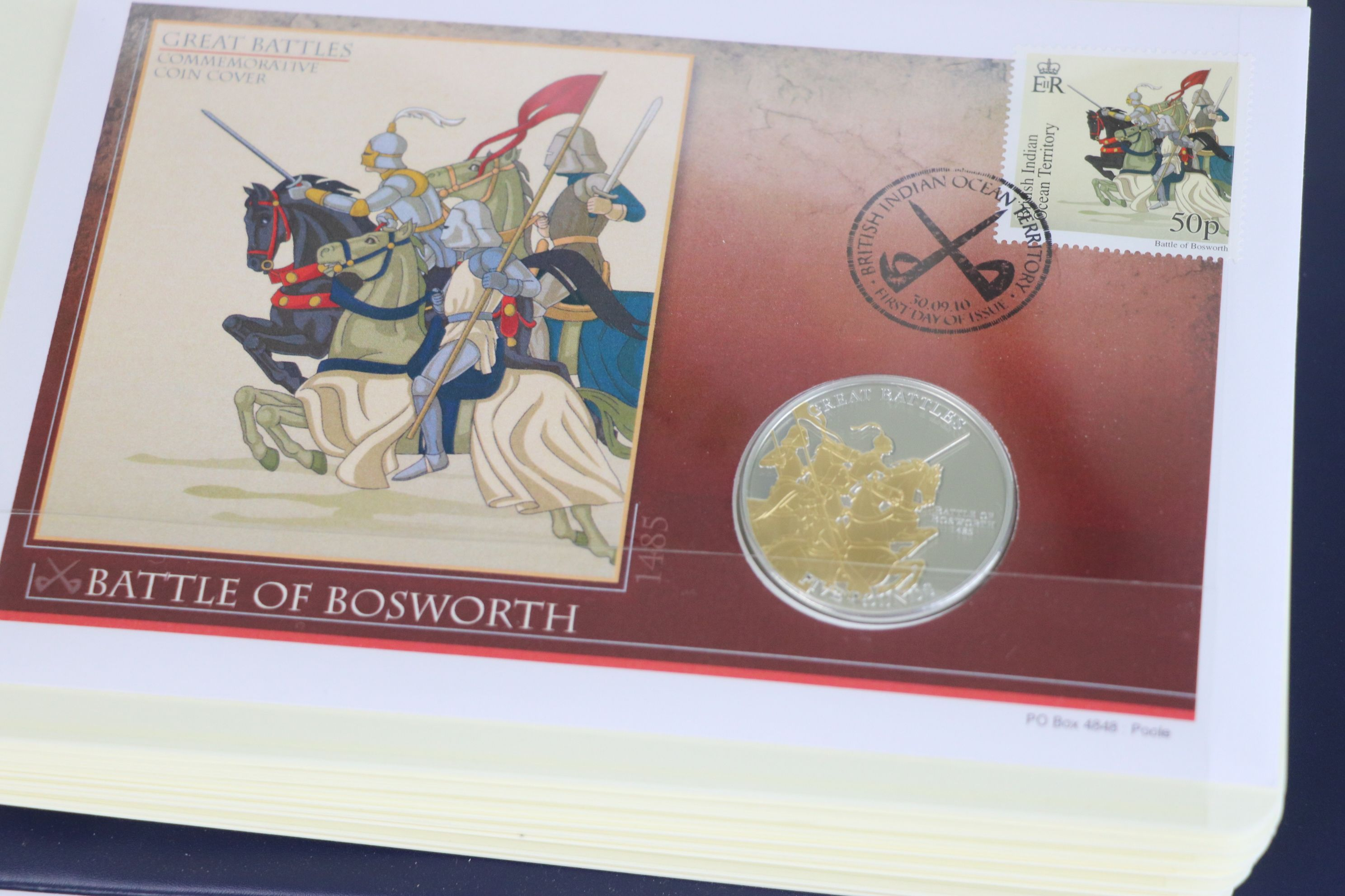 A limited edition Westminster Mint Great Battles £5 coin and stamps covers collection contained - Image 4 of 7
