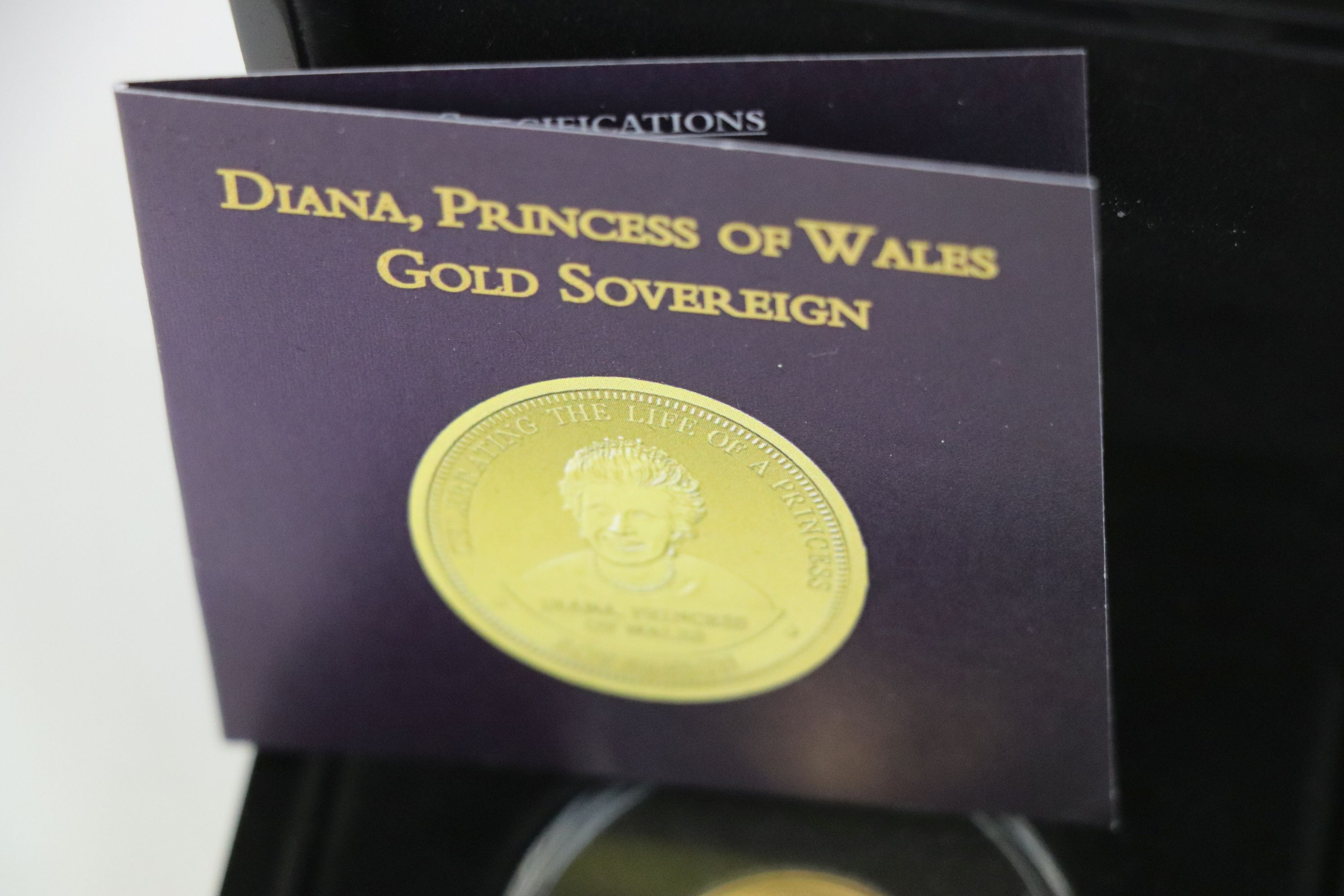 A cased Bradford Exchange limited edition Tristan Da Cunha 2007 Diana Princess of Wales gold proof - Image 4 of 5