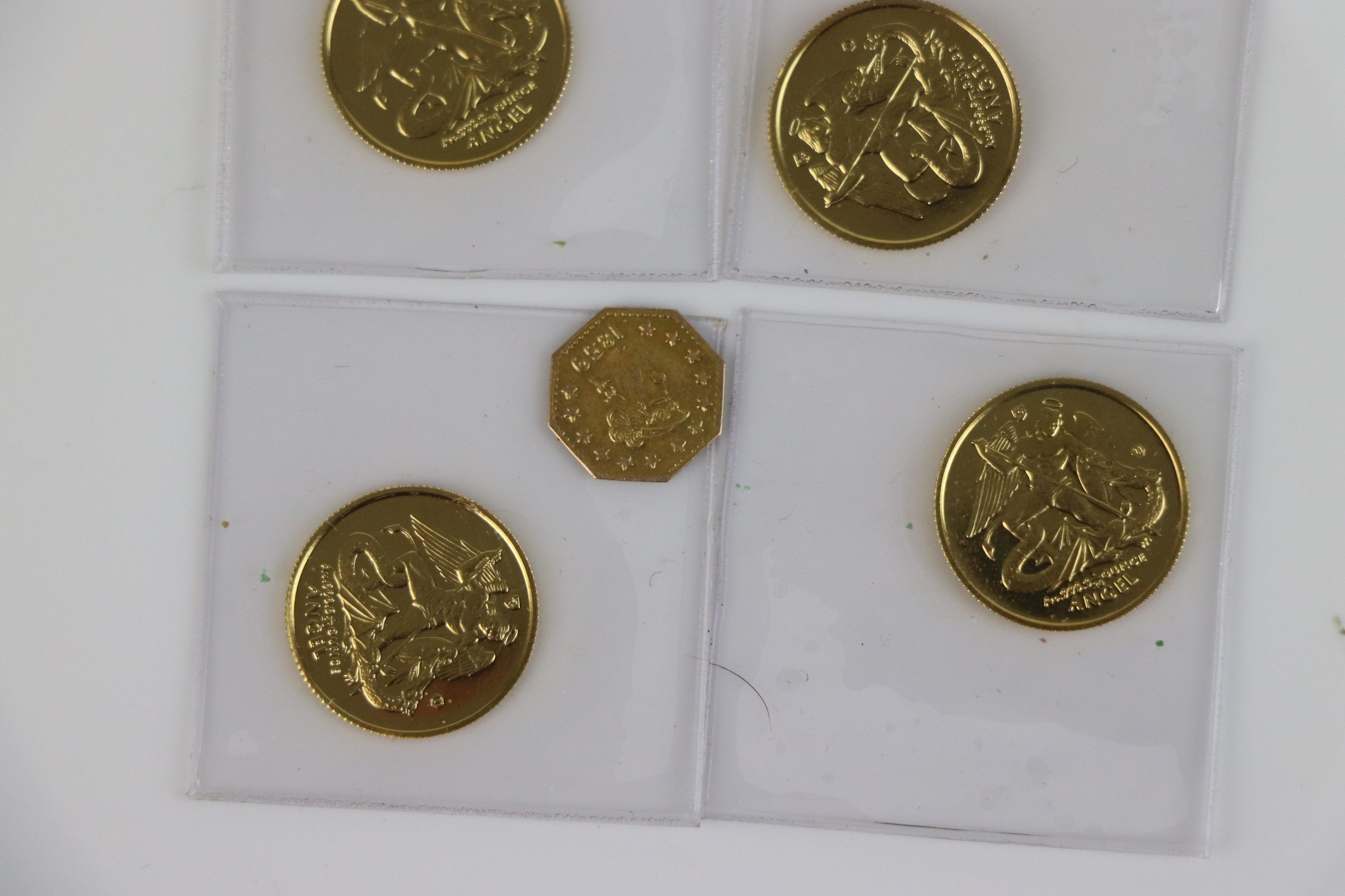 A small collection of British gold coins to include California gold rush 1/4 dollar and an Isle of - Image 4 of 6