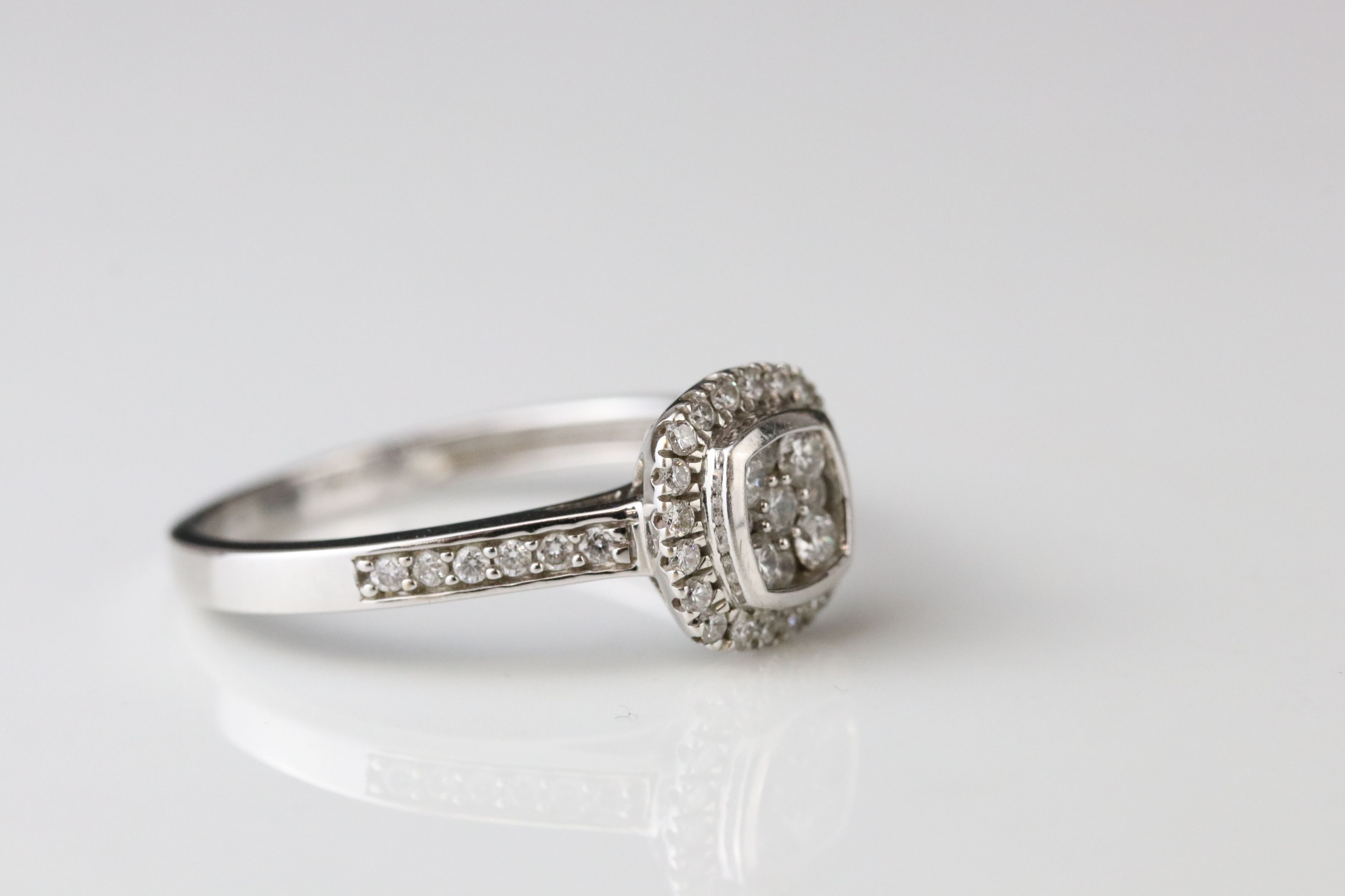 Diamond cluster 18ct white gold ring, nine small round brilliant cut diamonds to central cluster, - Image 2 of 3