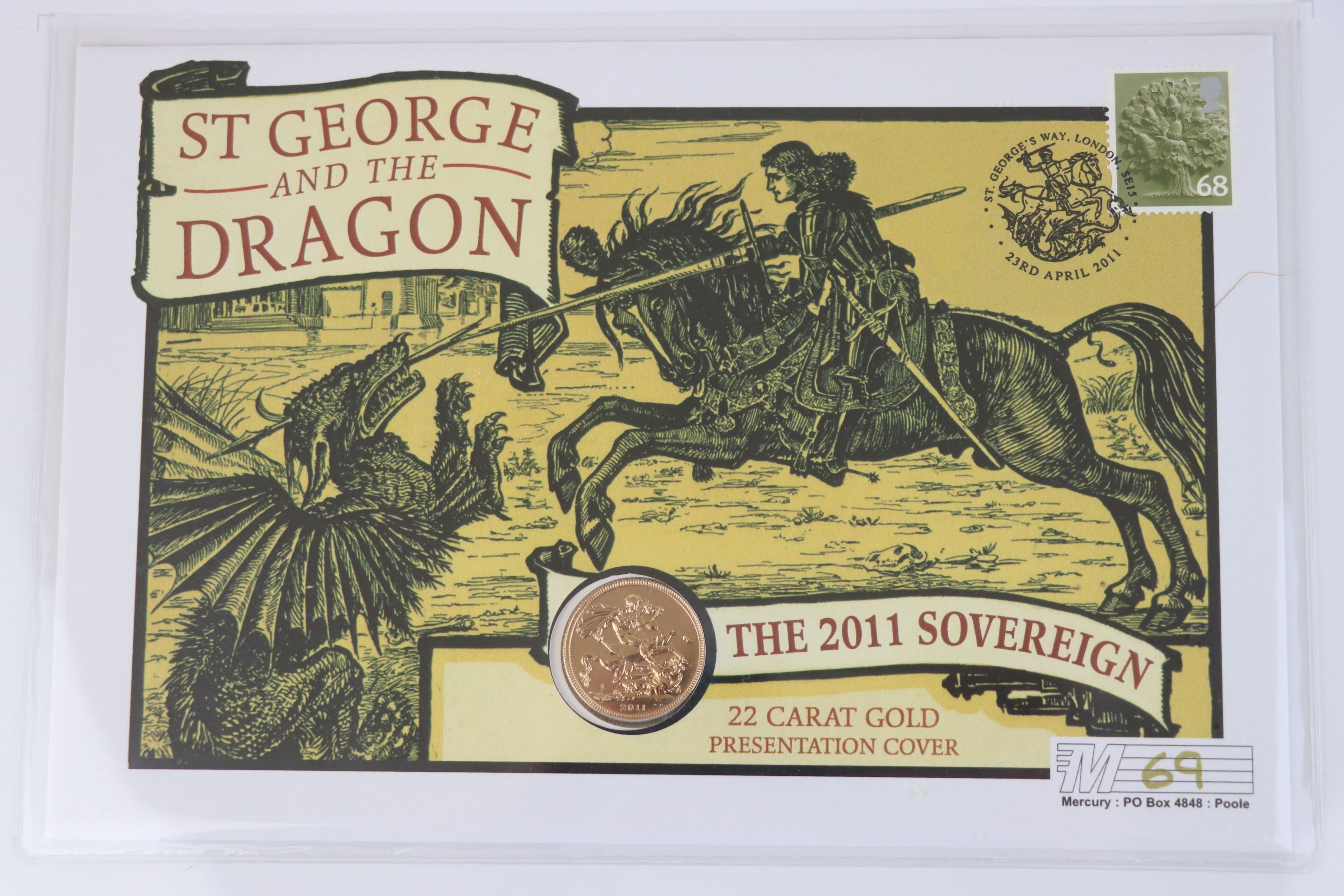 A Westminster Mint limited edition 2011 gold sovereign St. George & The Dragon presentation cover, - Image 3 of 7