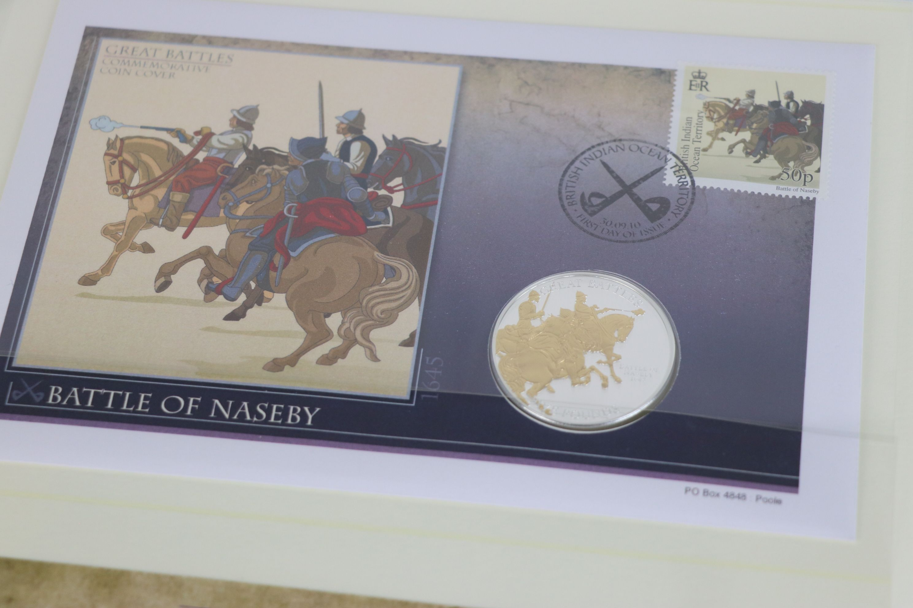 A limited edition Westminster Mint Great Battles £5 coin and stamps covers collection contained - Image 5 of 7