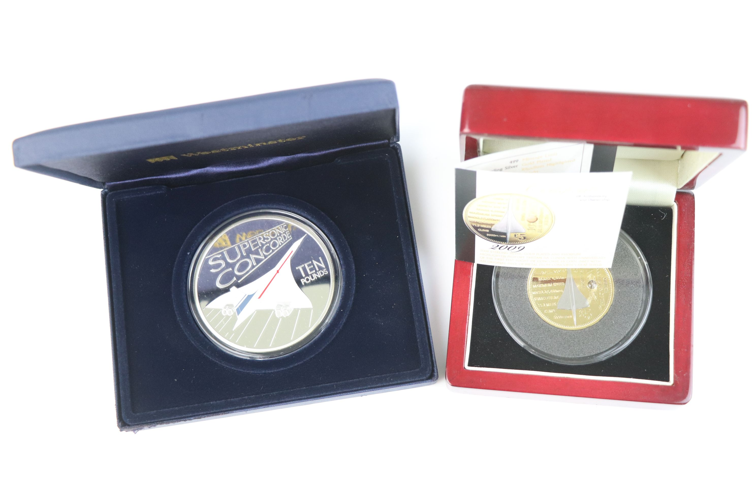 A cased Silver proof gold plated Concorde Piedfort £5 coin complete with C.O.A. together with a