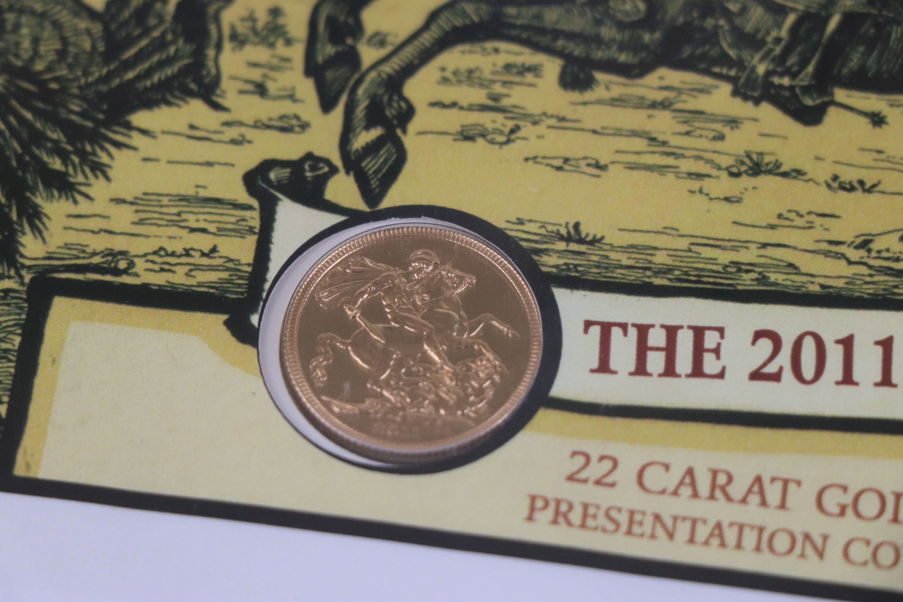 A Westminster Mint limited edition 2011 gold sovereign St. George & The Dragon presentation cover, - Image 5 of 7