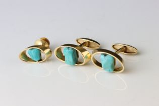 Pair of turquoise 18ct yellow gold cufflinks together with matching tie pin, tumbled turquoise stone