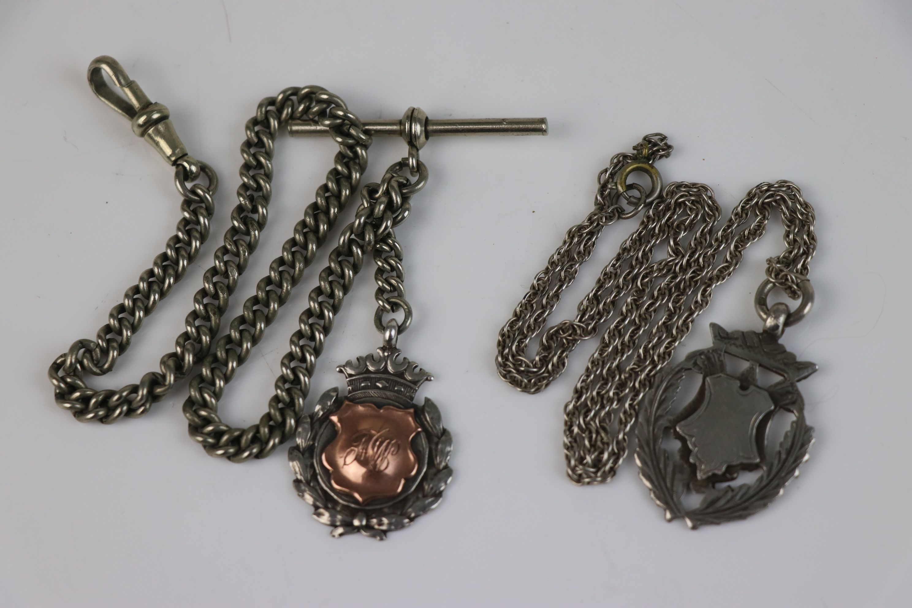 Two fully hallmarked sterling silver watch fob medallions together with an Albert chain. - Image 5 of 5