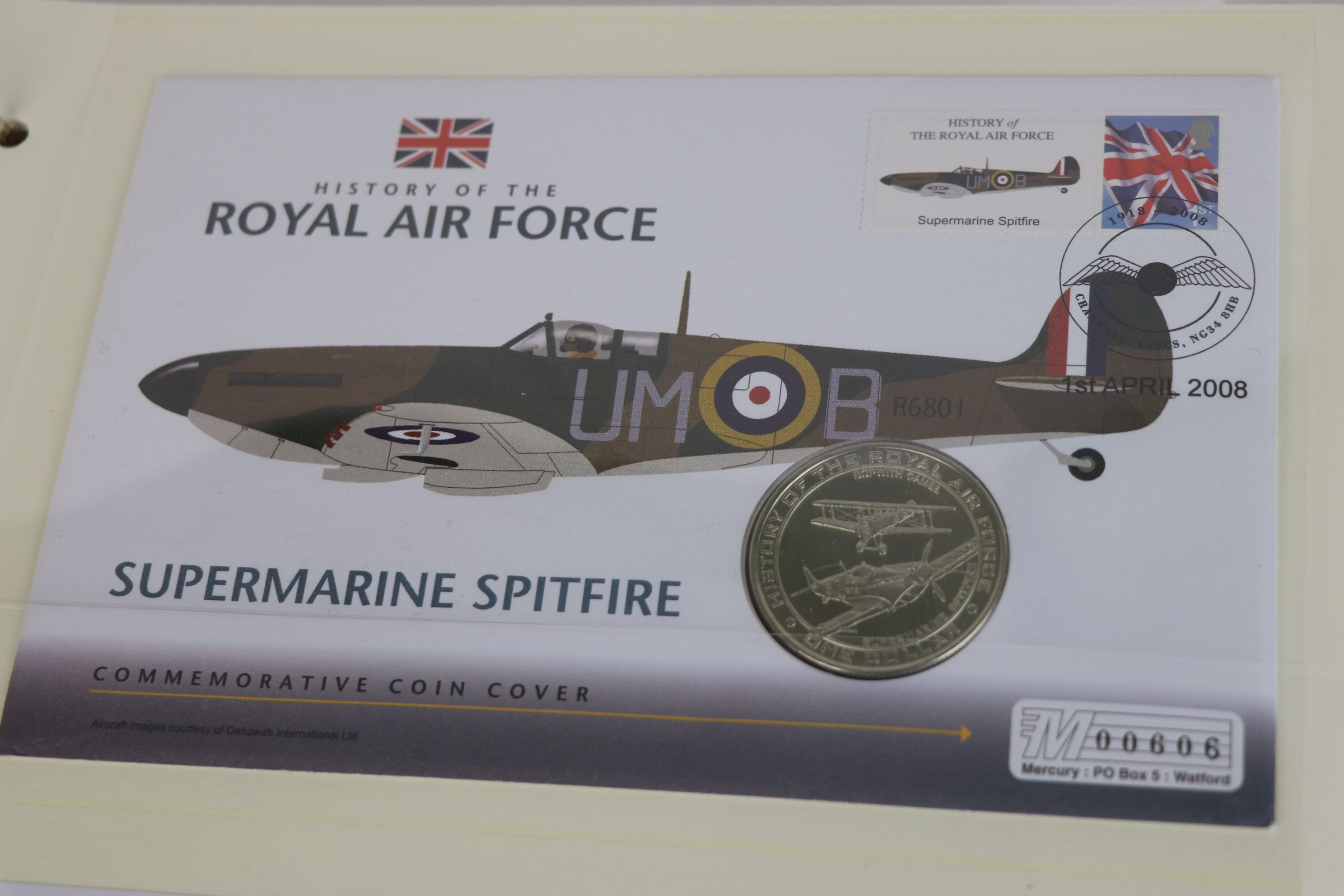 A limited edition Westminster Mint History of the Royal Air Force coin and stamp cover collection to - Image 10 of 16