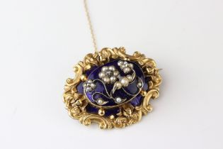 Victorian diamond, seed pearl and enamelled yellow metal brooch, the central raised blue enamelled