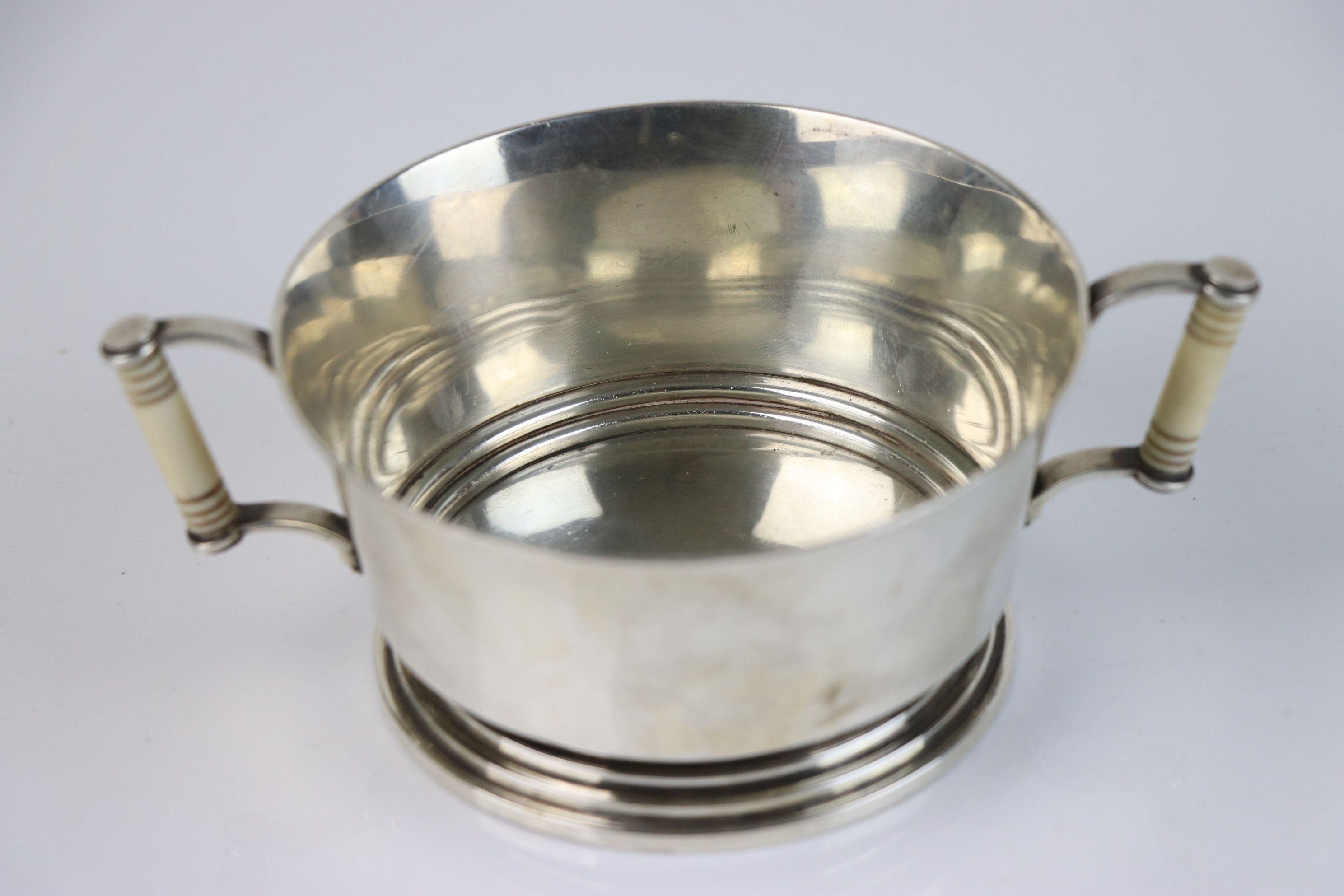 A fully hallmarked Britannia silver double handled christening cup with decorative ivory handles, - Image 2 of 5
