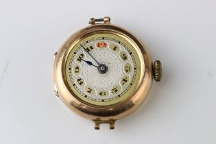 Early 20th century 9ct rose gold cased ladies' wristwatch, silvered and gilt dial, black and red