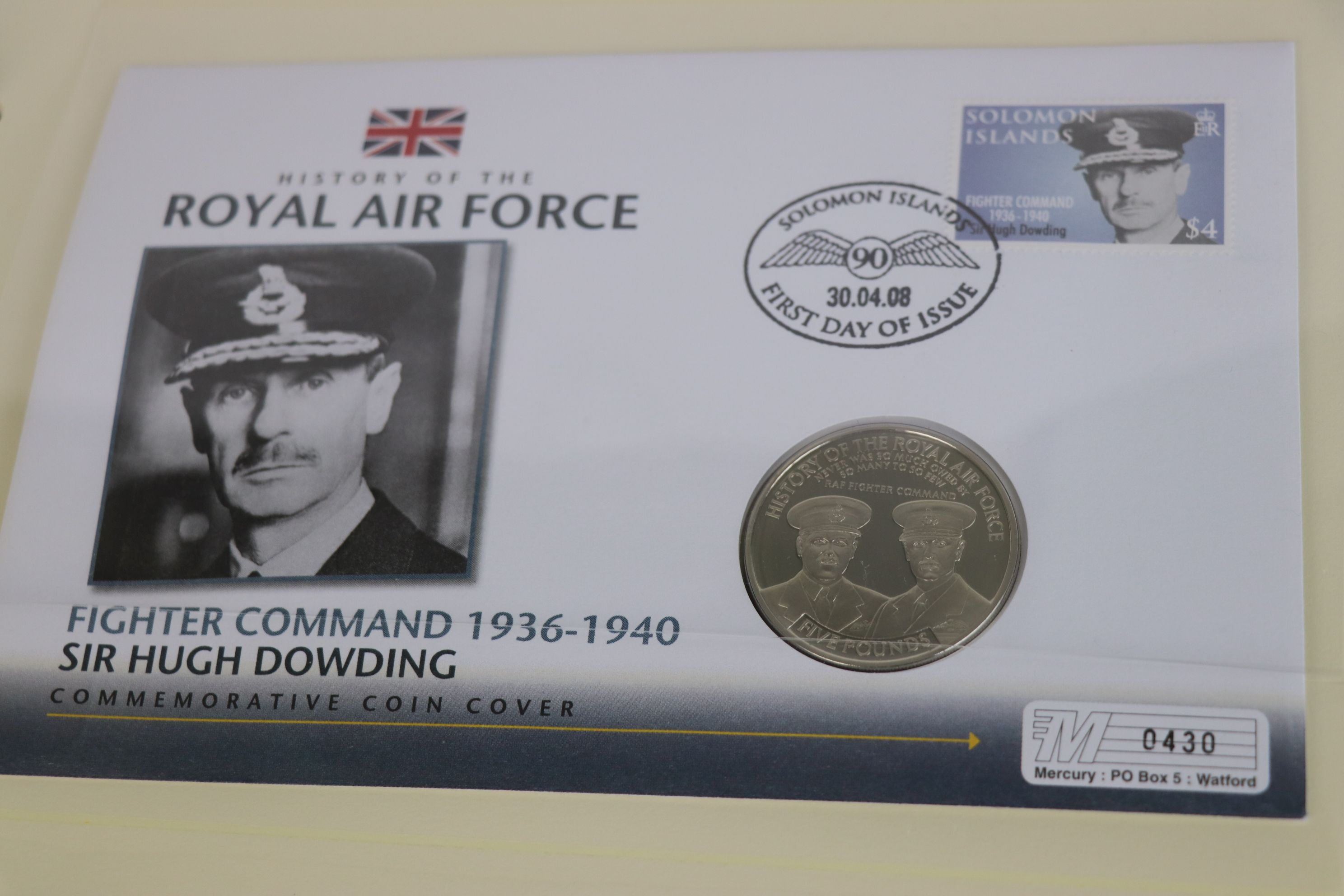 A limited edition Westminster Mint History of the Royal Air Force coin and stamp cover collection to - Image 8 of 16