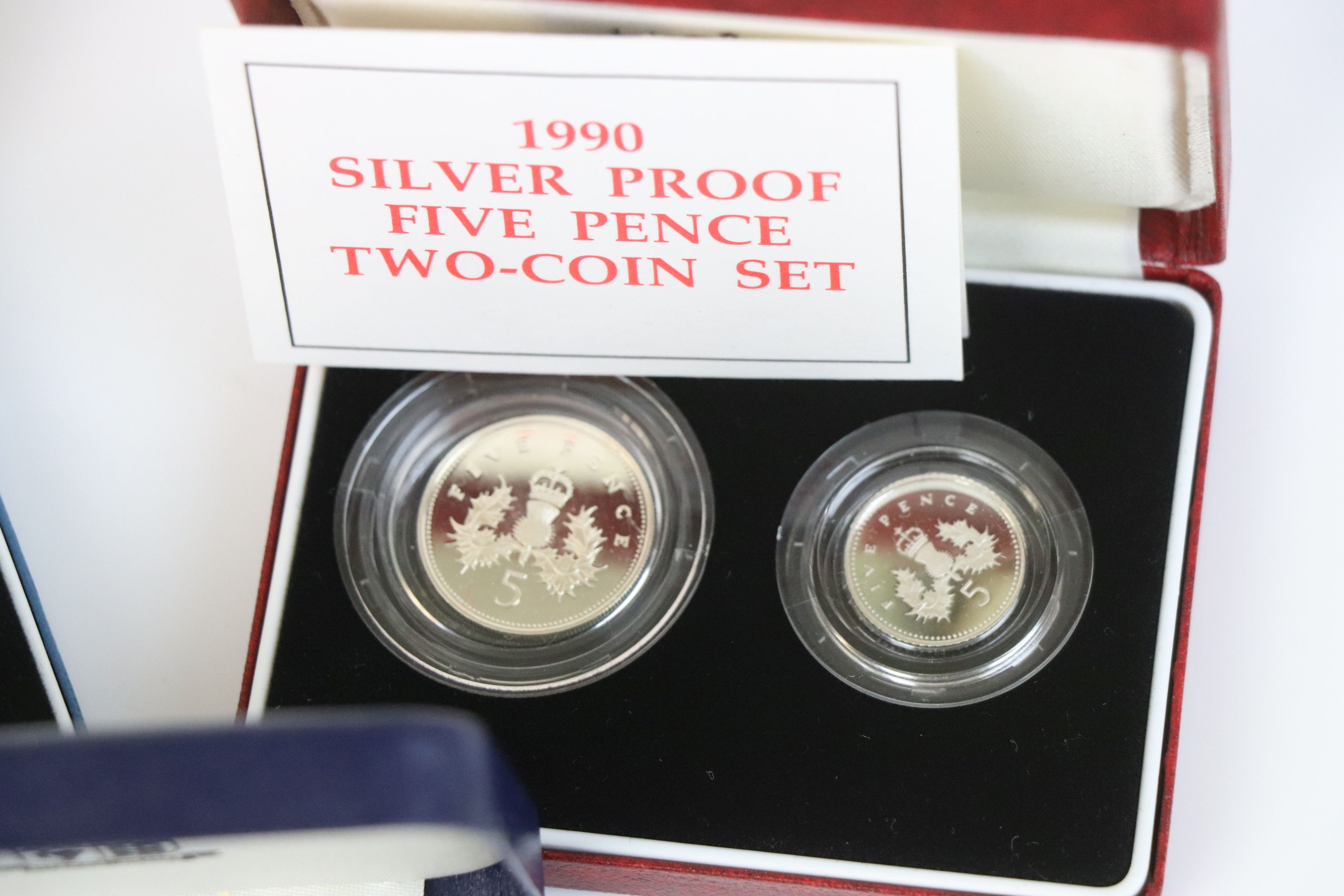 Three cased Royal Mint silver proof coin sets to include the 1992-1993 silver proof fifty pence - Image 4 of 6
