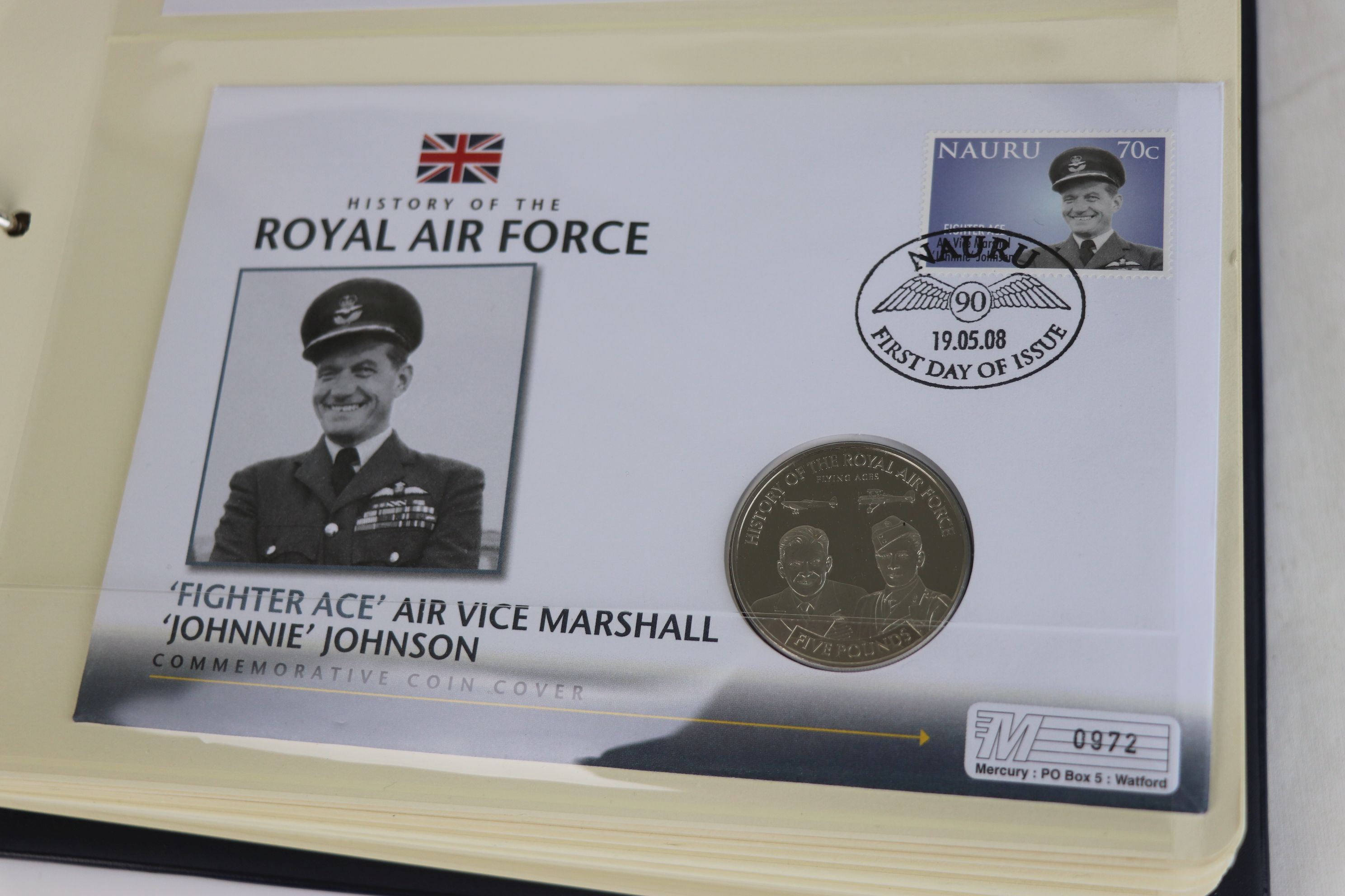 A limited edition Westminster Mint History of the Royal Air Force coin and stamp cover collection to - Image 5 of 16