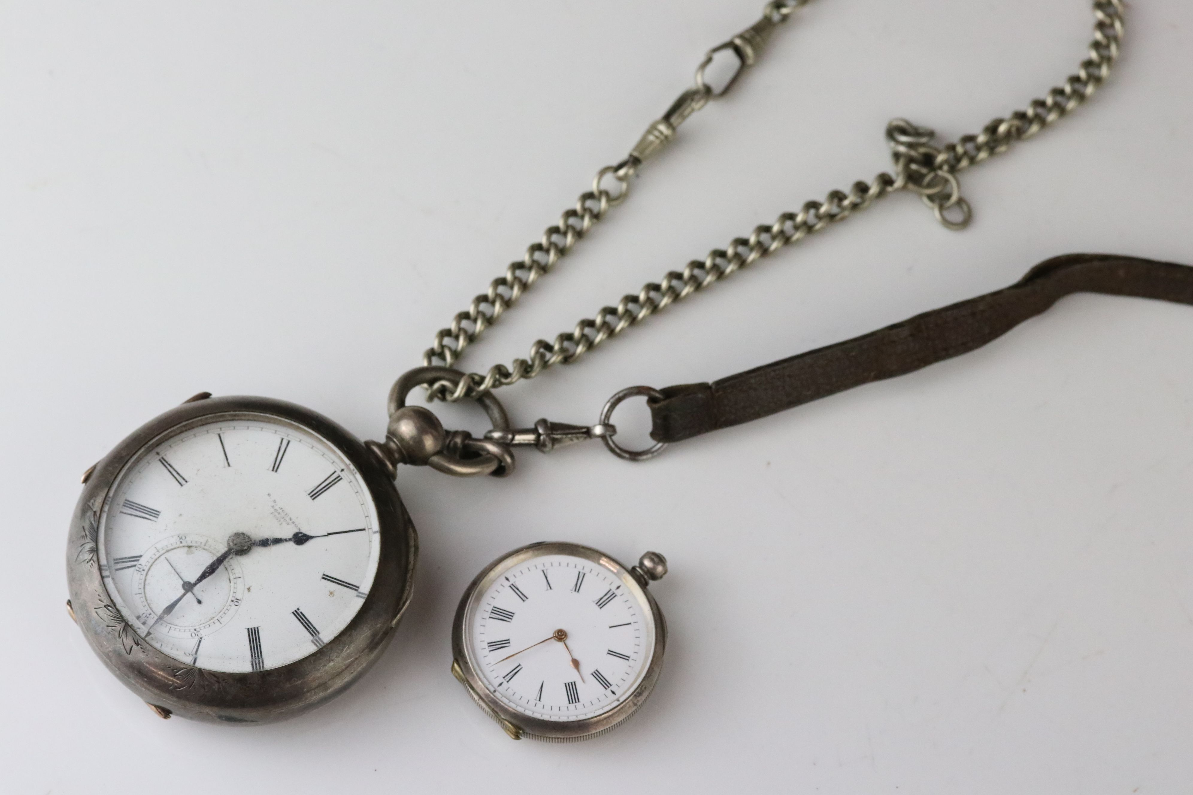 E D Johnson white metal key wind open face pocket watch, white enamel dial and subsidiary dial,