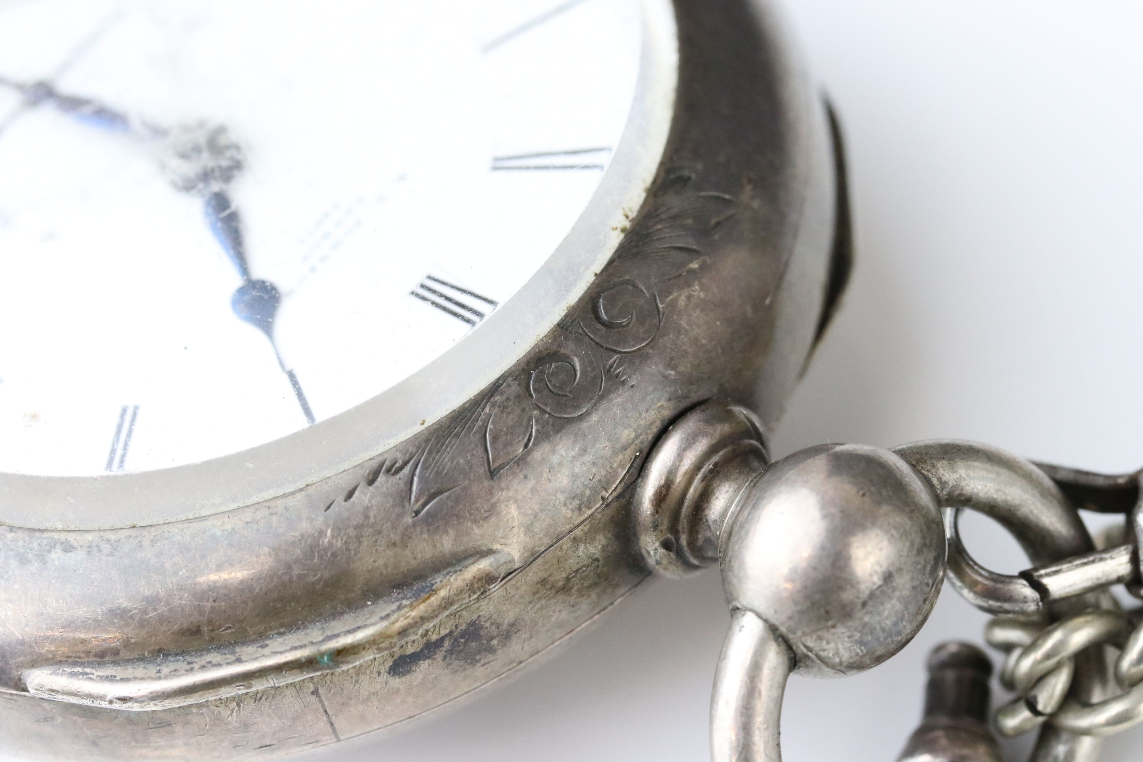 E D Johnson white metal key wind open face pocket watch, white enamel dial and subsidiary dial, - Image 4 of 10