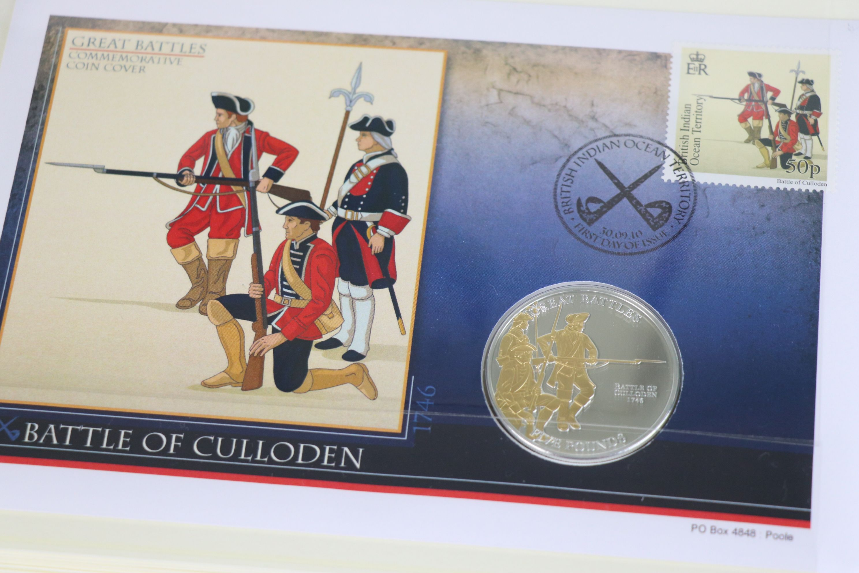 A limited edition Westminster Mint Great Battles £5 coin and stamps covers collection contained - Image 6 of 7