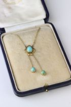 Edwardian turquoise 9ct yellow gold pendant necklace, the principle oval cabochon cut turquoise