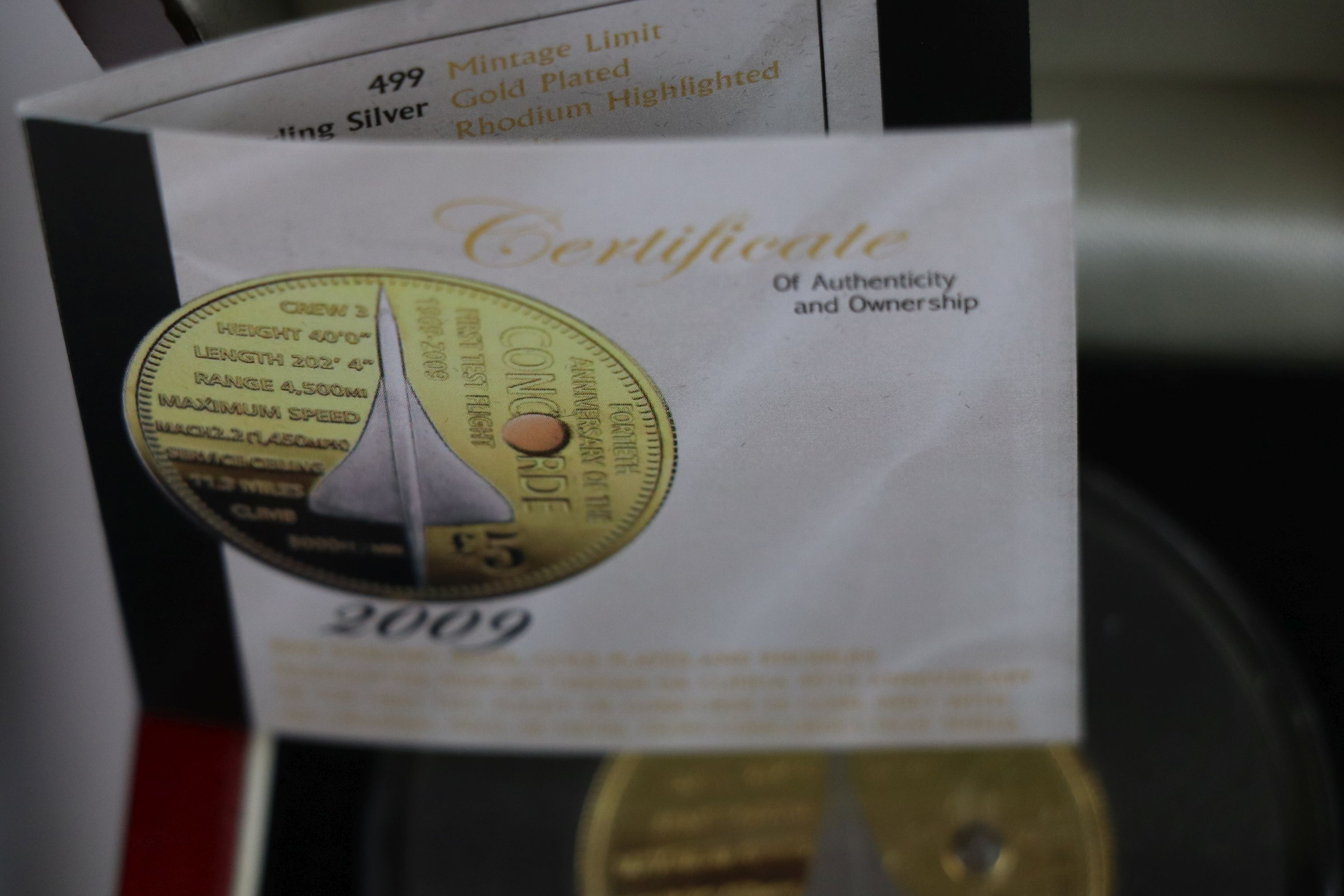 A cased Silver proof gold plated Concorde Piedfort £5 coin complete with C.O.A. together with a - Image 6 of 7