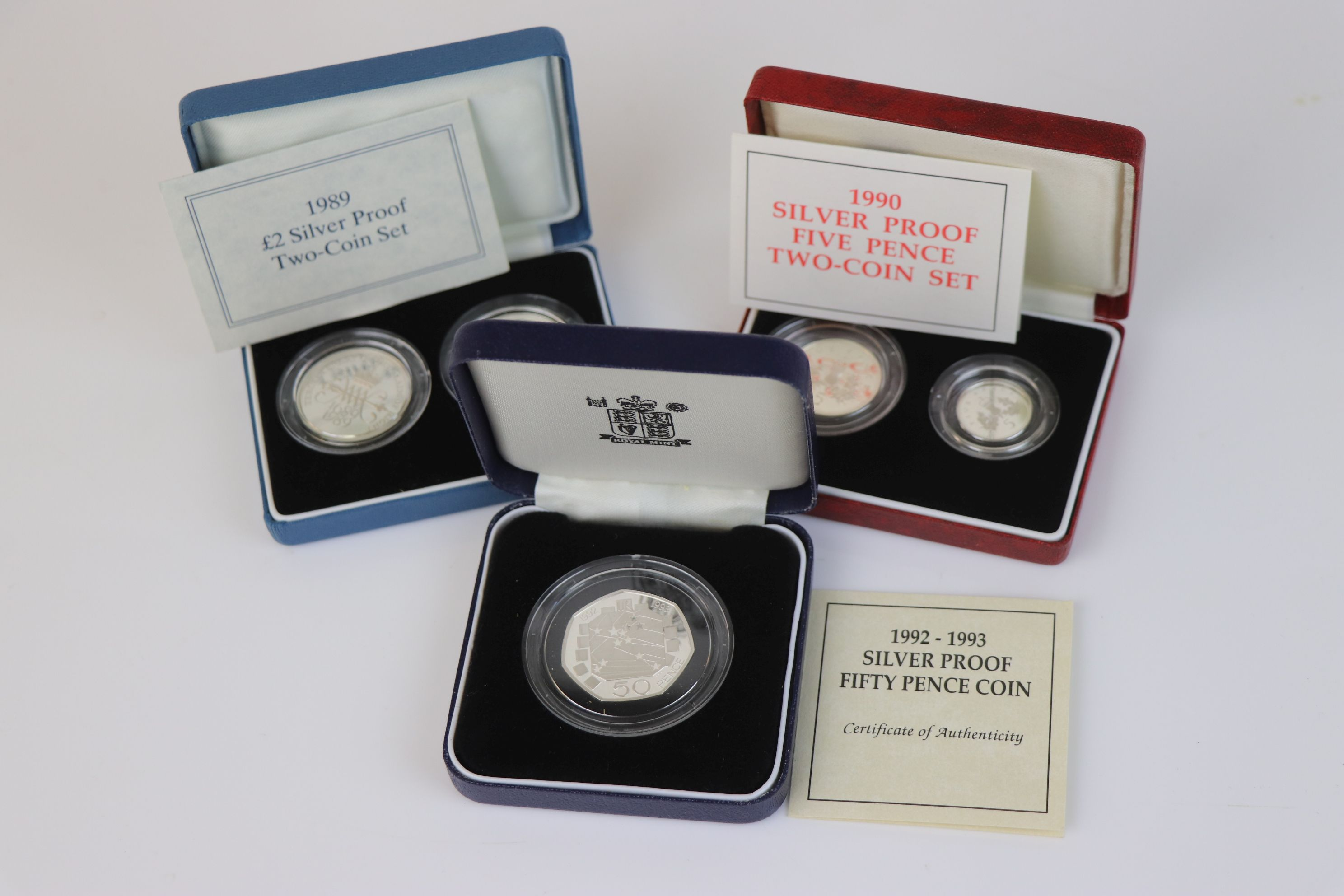 Three cased Royal Mint silver proof coin sets to include the 1992-1993 silver proof fifty pence - Image 2 of 6