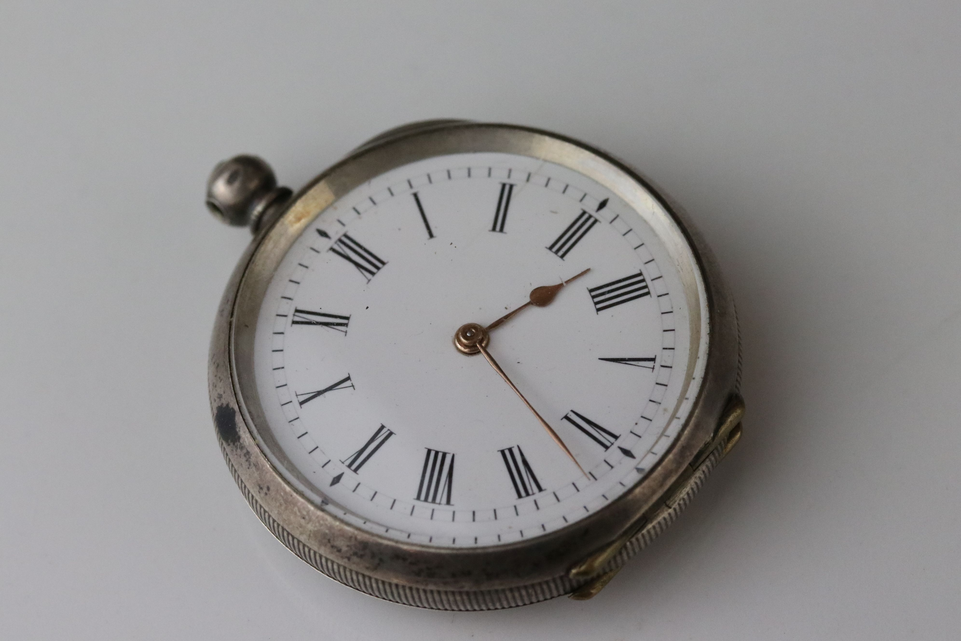 E D Johnson white metal key wind open face pocket watch, white enamel dial and subsidiary dial, - Image 9 of 10