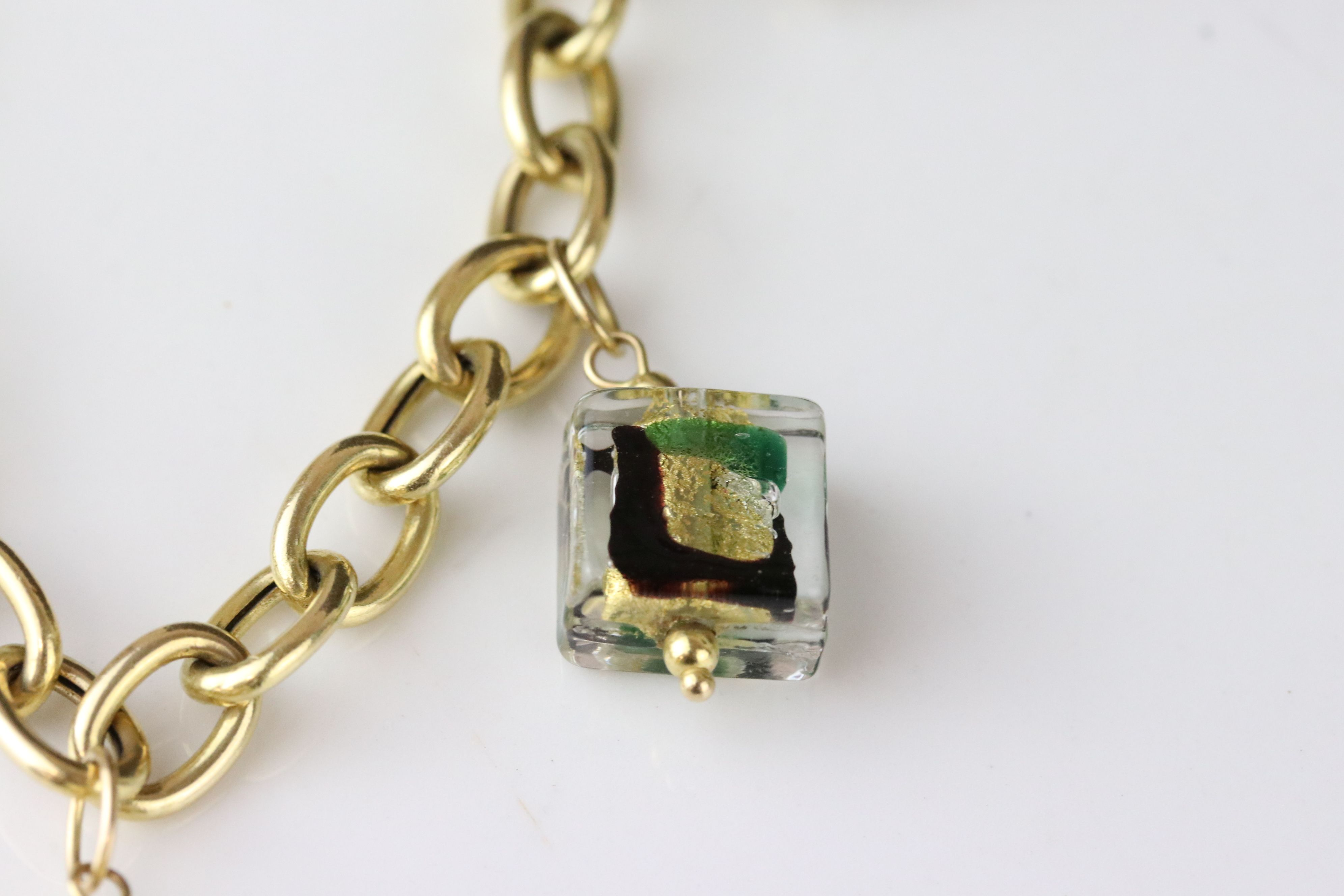 14ct yellow gold charm bracelet with five Murano style glass charms, lobster clasp, length approx - Image 4 of 5