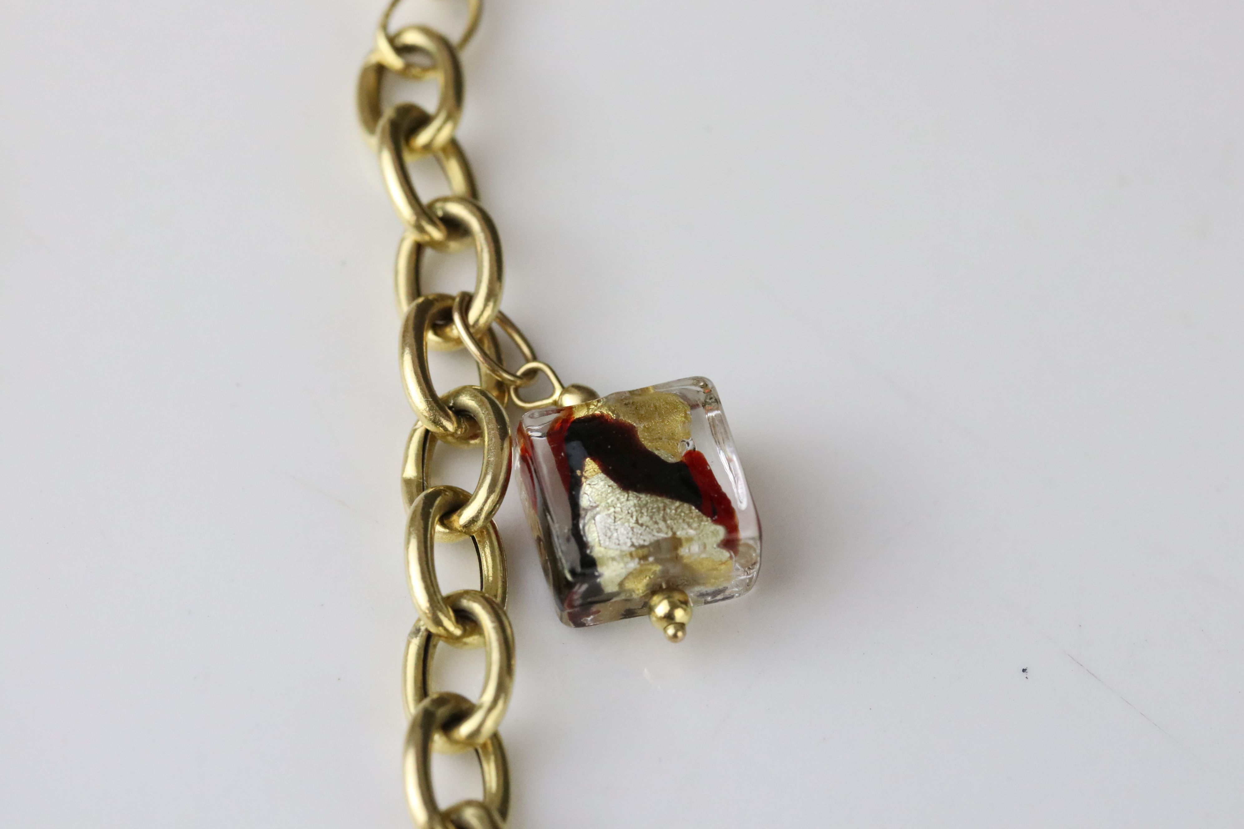14ct yellow gold charm bracelet with five Murano style glass charms, lobster clasp, length approx - Image 5 of 5