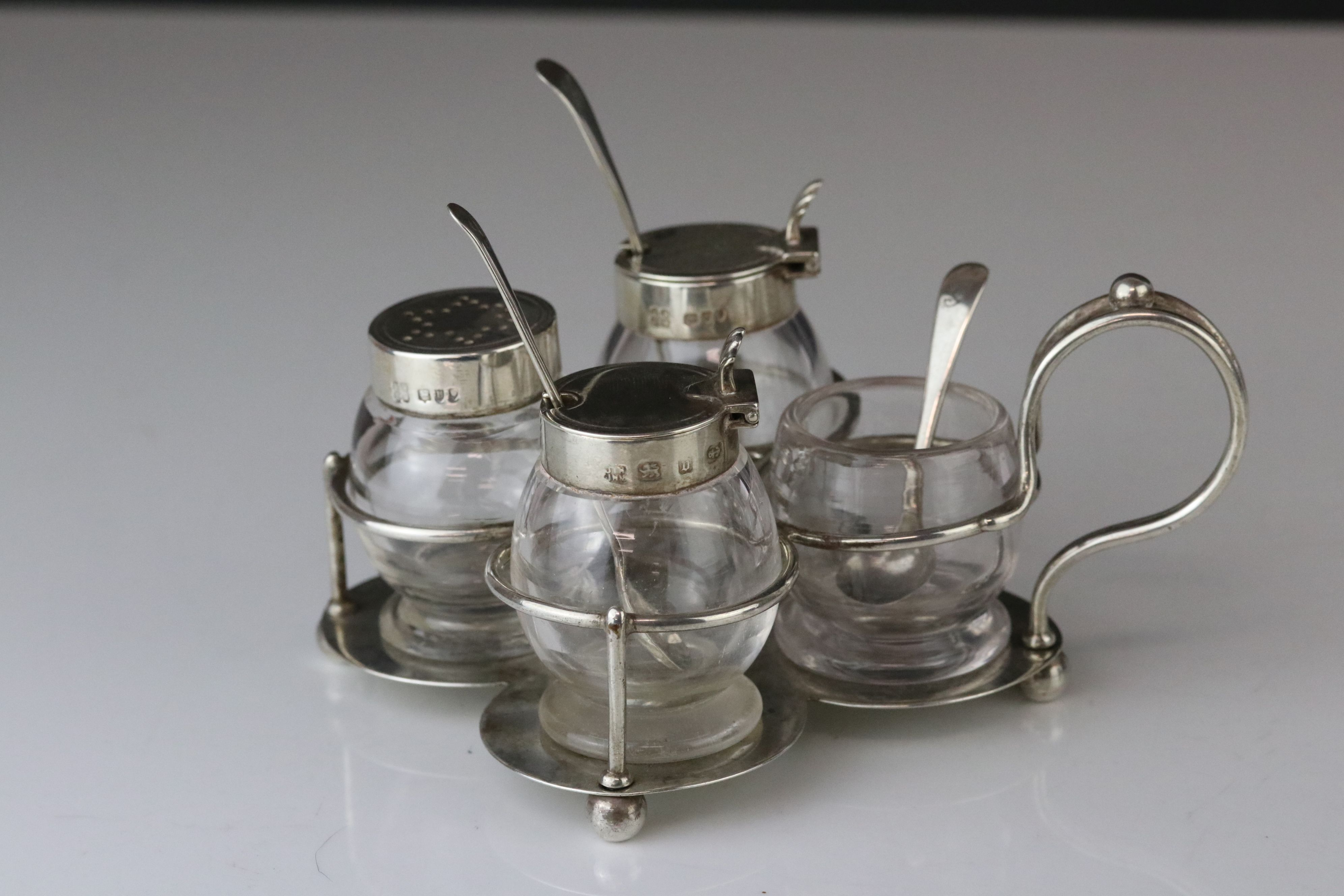 Victorian Silver Quatrefoil Cruet Stand holding Pair of Glass Mustards with Silver Lids and