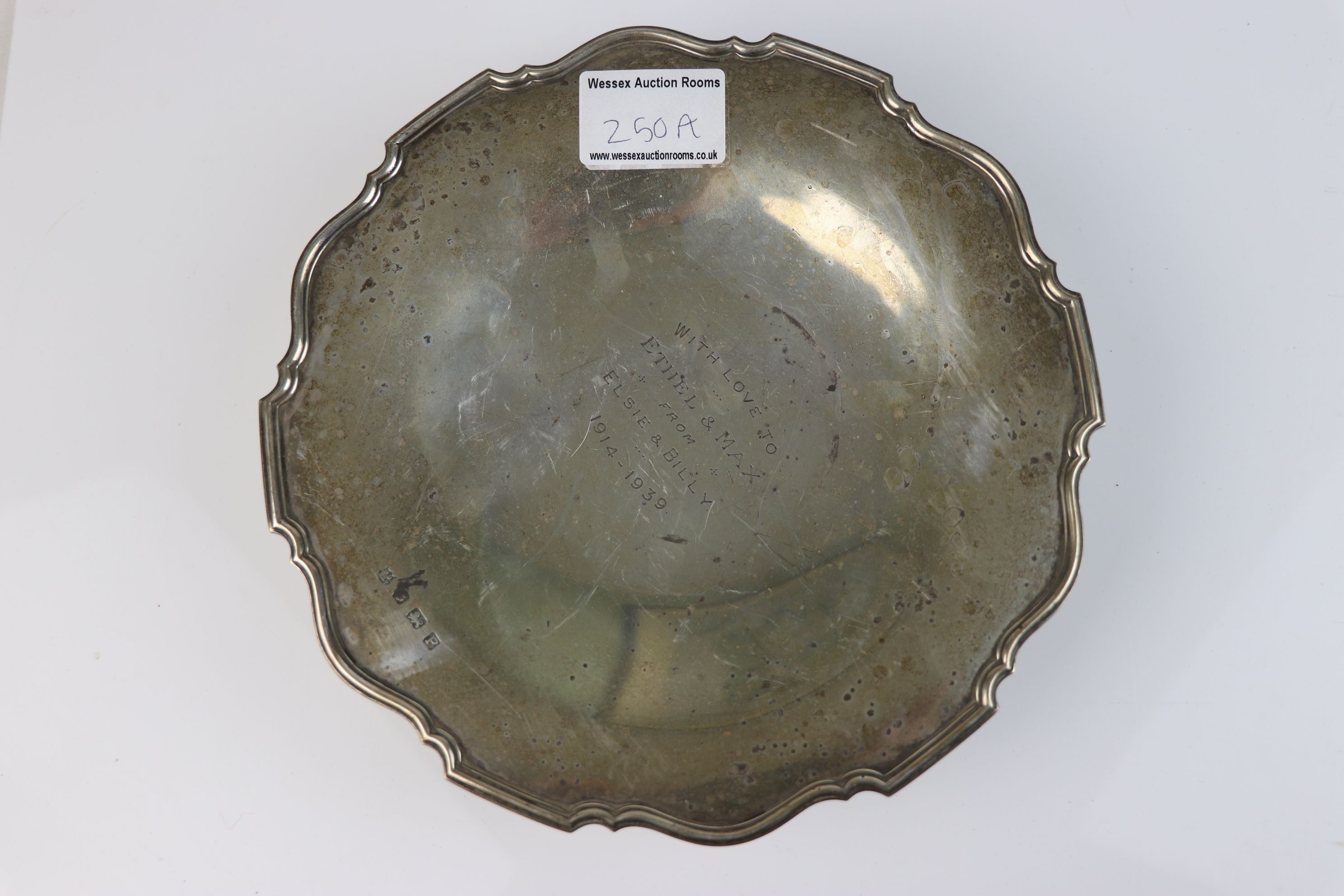 Silver pedestal dish, engraved personalisation to centre, pie crust border, makers Barker Brothers