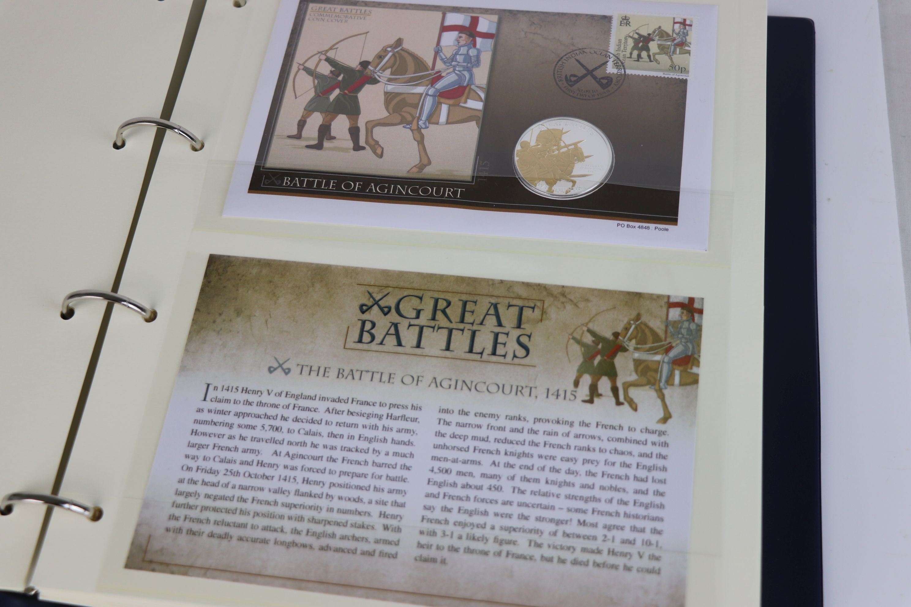 A limited edition Westminster Mint Great Battles £5 coin and stamps covers collection contained - Image 3 of 7