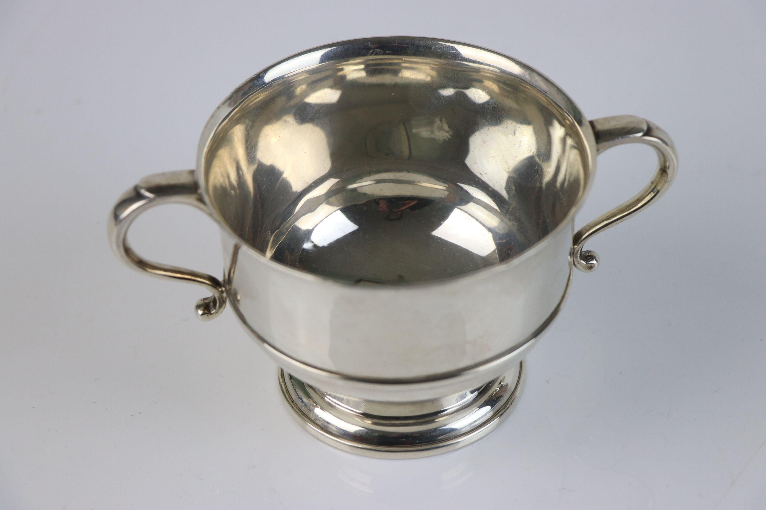 A fully hallmarked sterling silver porringer, maker marked for Mappin & Webb, assay marked for