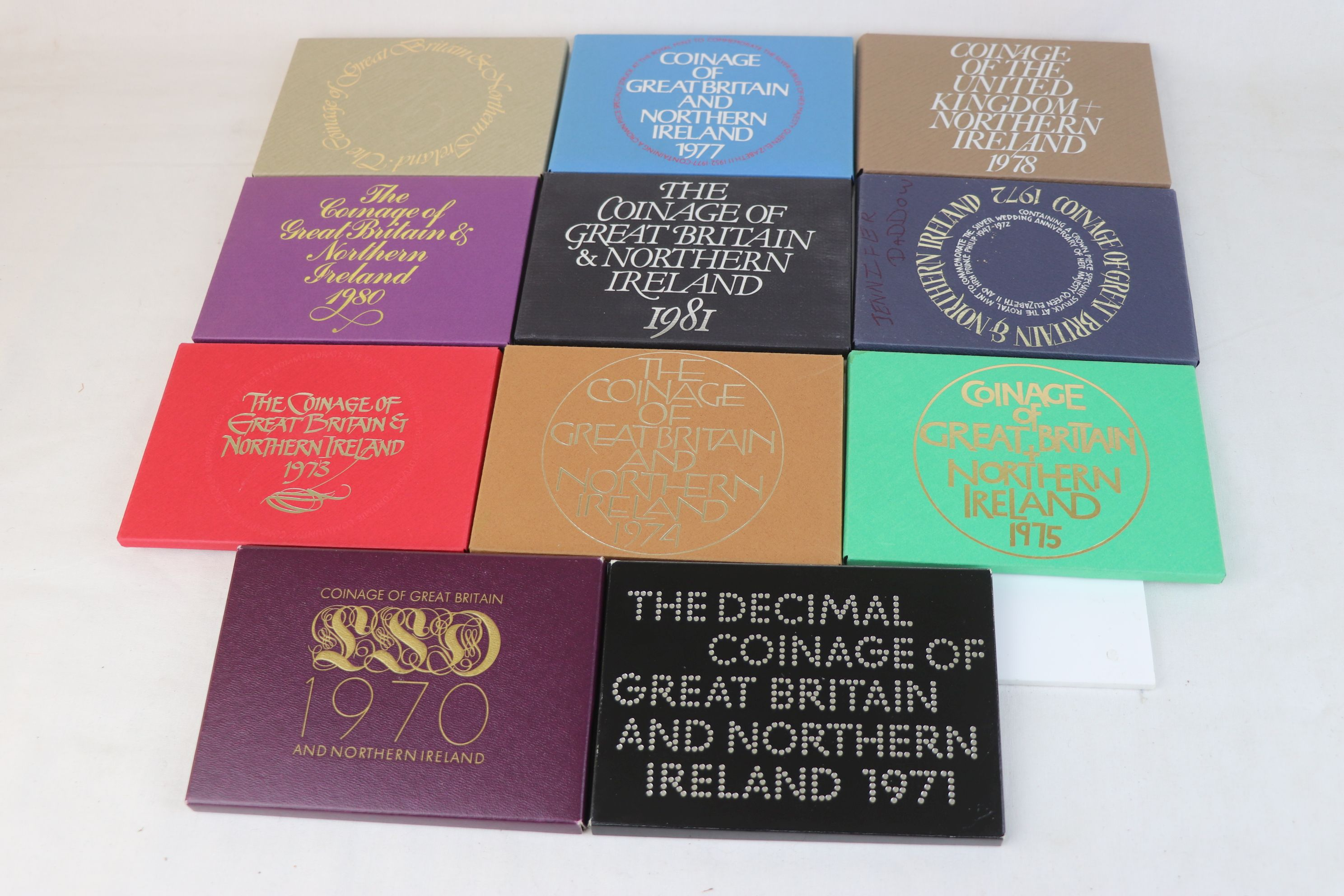 A collection of eleven Royal Mint coinage of Great Britain and Northern Ireland year sets to include