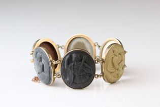 19th century Italian Grand Tour lava cameo bracelet, comprising six classical Roman cameo panels,