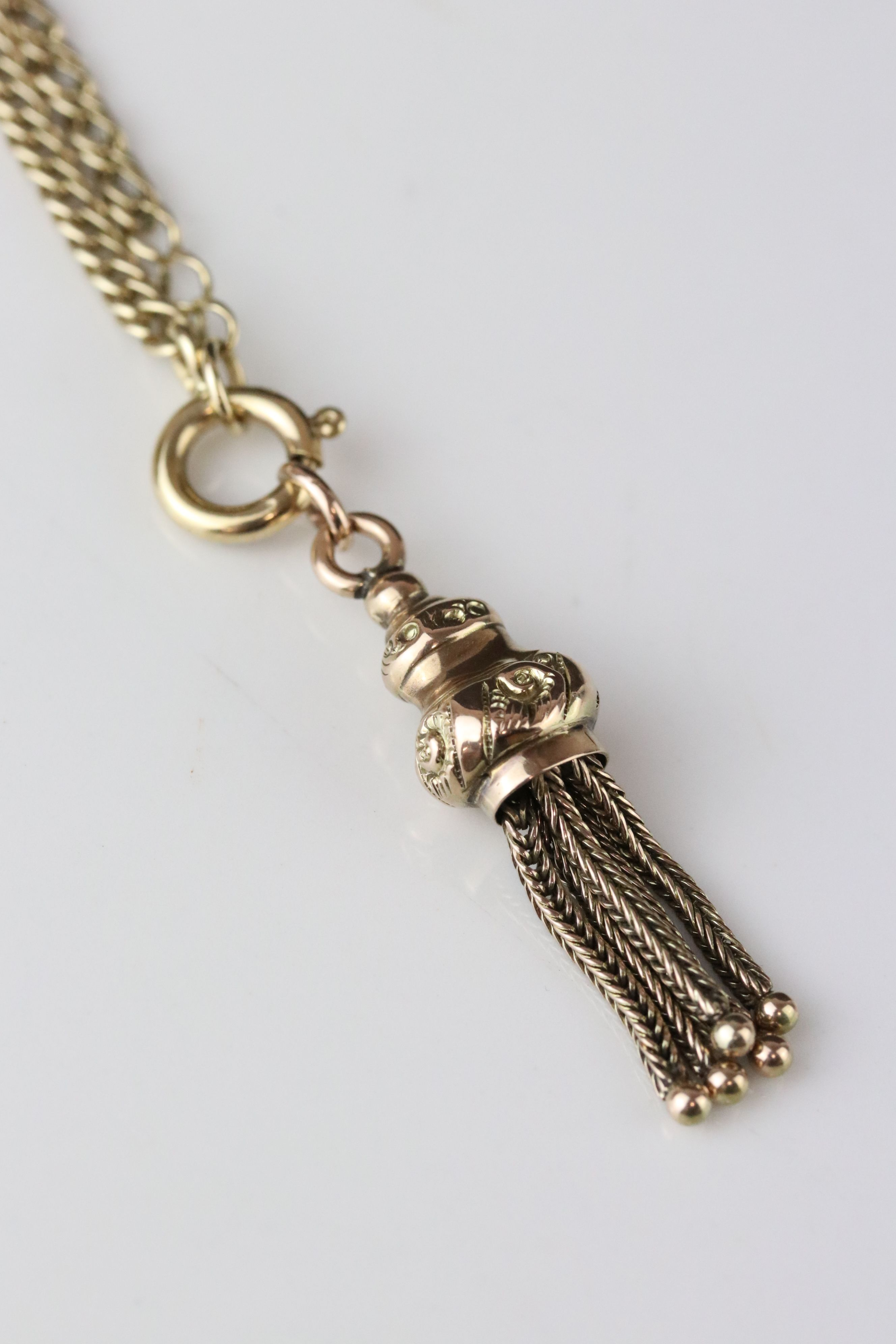 9ct gold chain with earlier tassel fob, length approx 49cm - Image 2 of 4