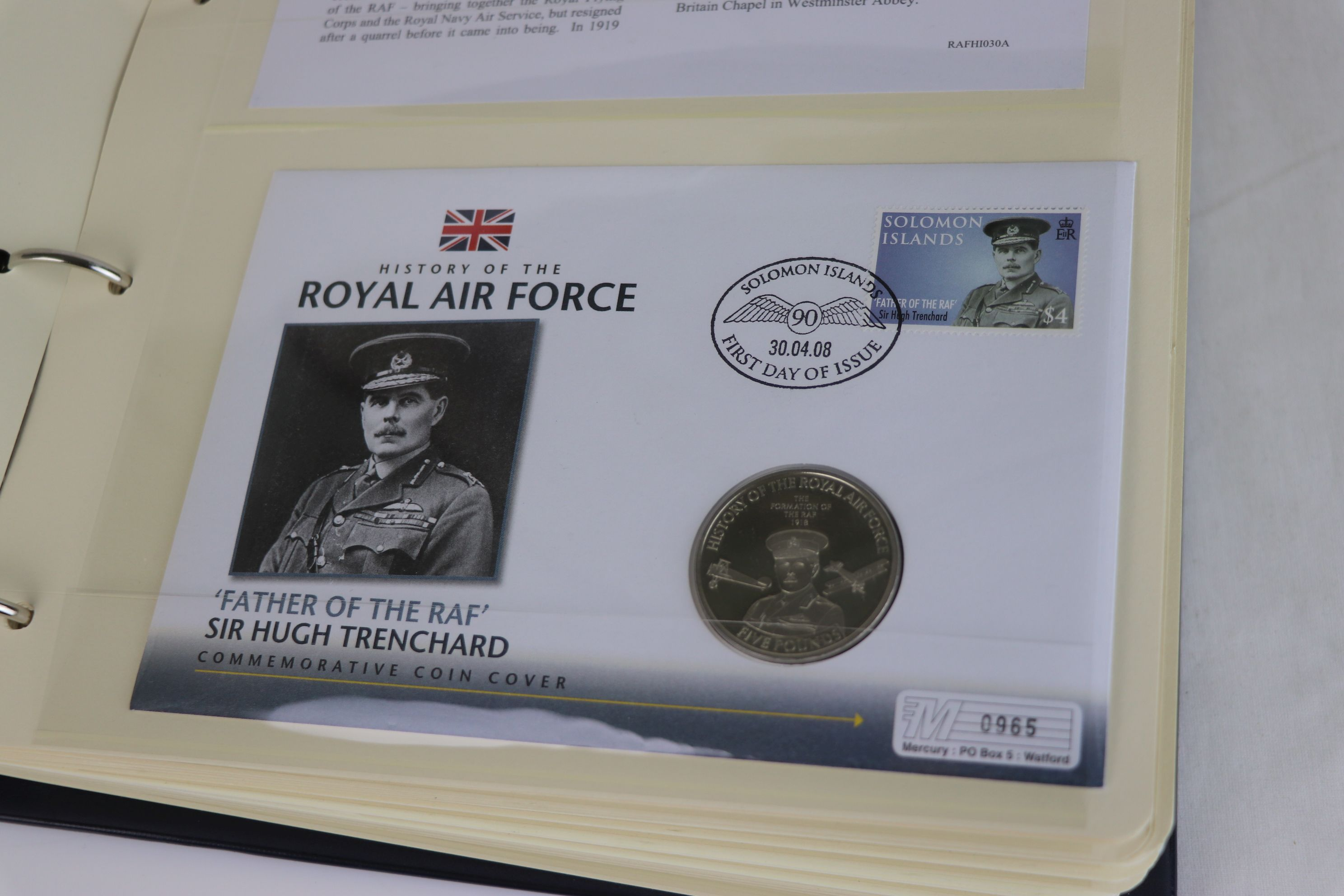 A limited edition Westminster Mint History of the Royal Air Force coin and stamp cover collection to - Image 3 of 16