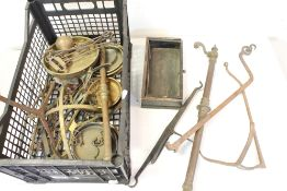 A collection of scales and balances to include beam scale, brass pans weights etc.