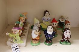 Set of Ceramic Snow White and the Seven Dwarfs (each dwarf 8cms high) together with a Clover