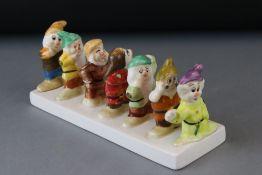Ceramic Toast Rack in the form of Walt Disney's Seven Dwarfs (from Snow White )