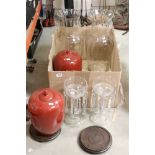 A antique glass Lustres together with two oriental lidded vases and two large glass vases.