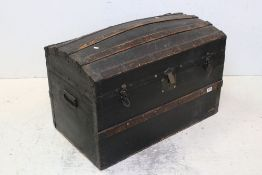 Victorian Canvas covered and Wooden Bound Domed Top Travelling Trunk, 84cms wide x 60cms high