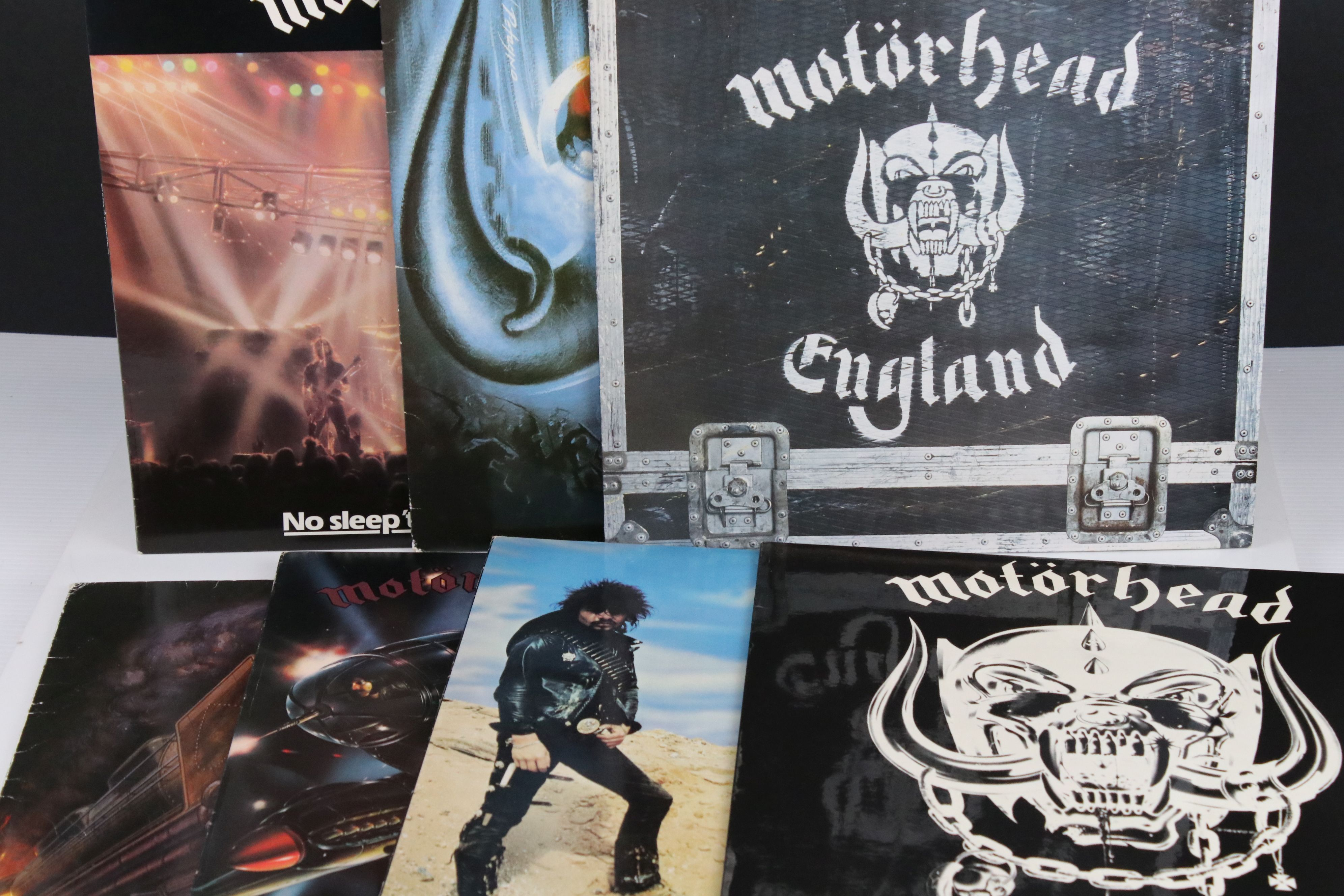Vinyl - Motorhead 7 LP's to include Self Titled (WLK 2), No Sleep At All (GWLP31), Rock N Roll (