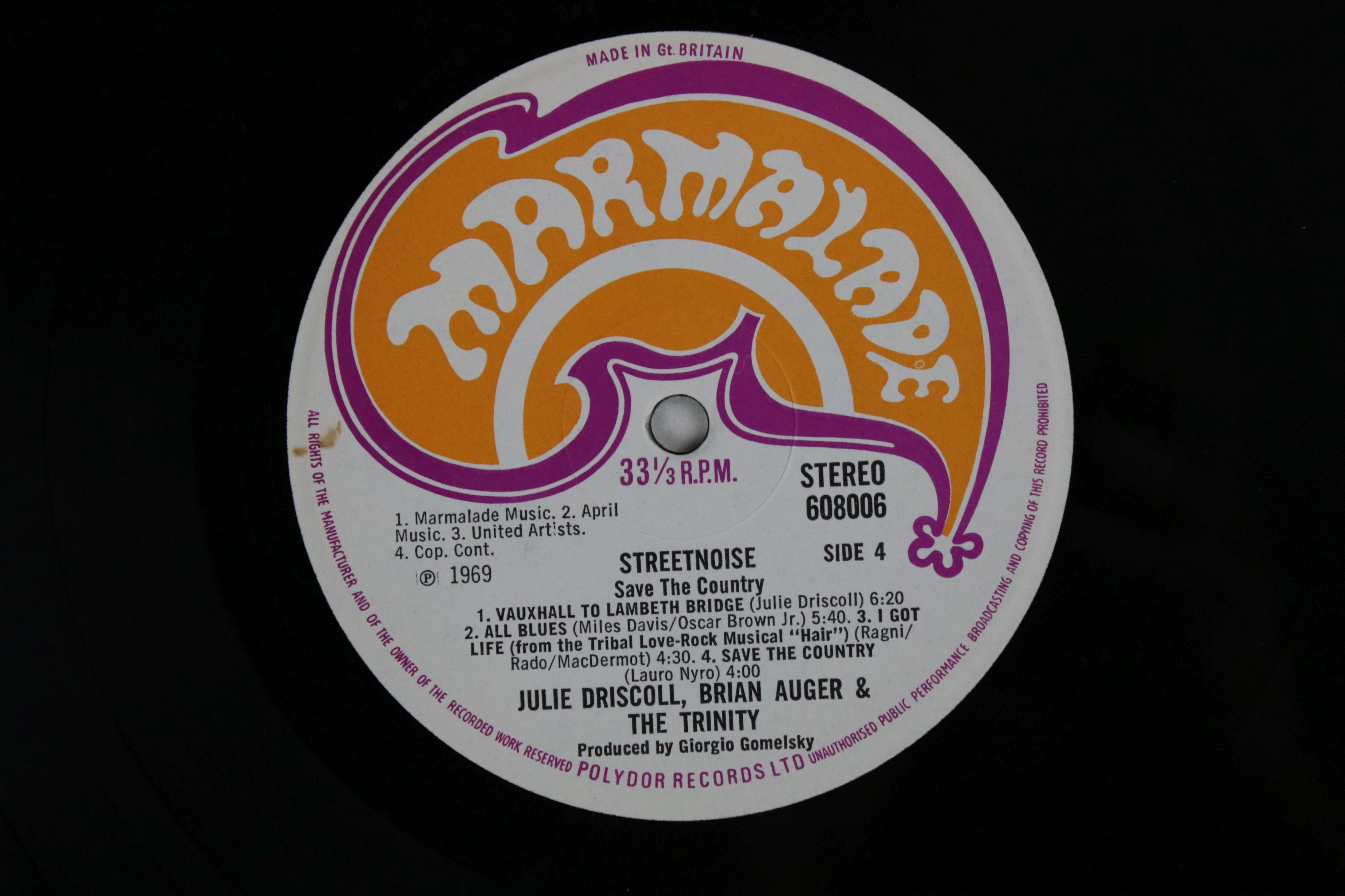 Vinyl - Julie Driscoll and Brian Auger Streetnoise LP on Marmalade 608005/6 Stereo, gatefold sleeve, - Image 6 of 6