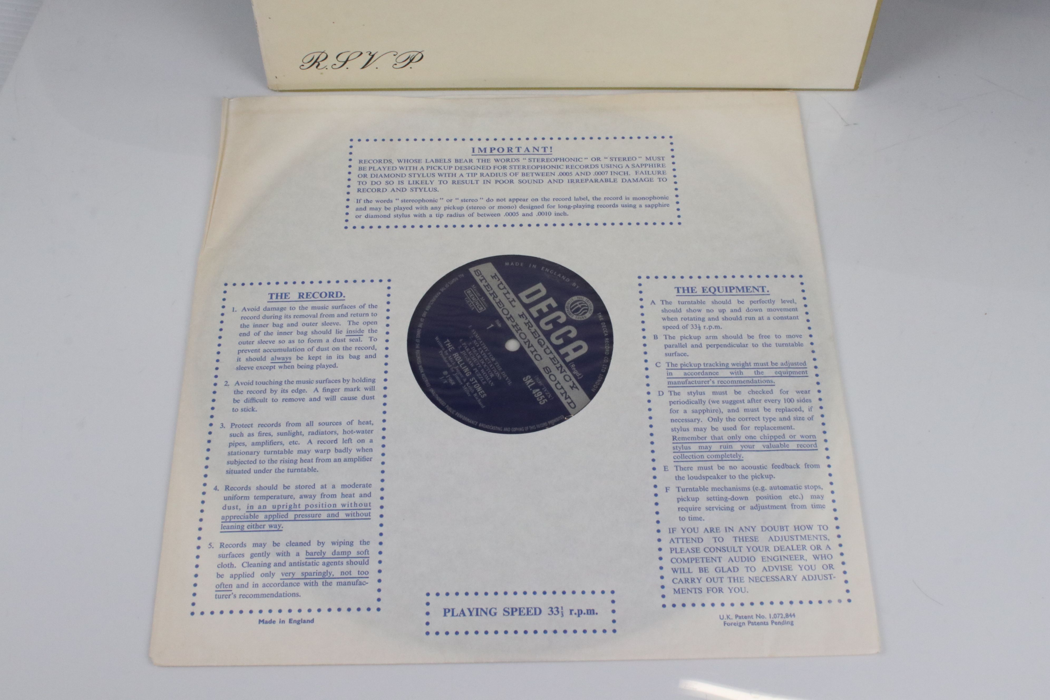 Vinyl - The Rolling Stones Beggars Banquet (SKL 4955) blue Decca label, Mirage Music, titles - Image 5 of 6