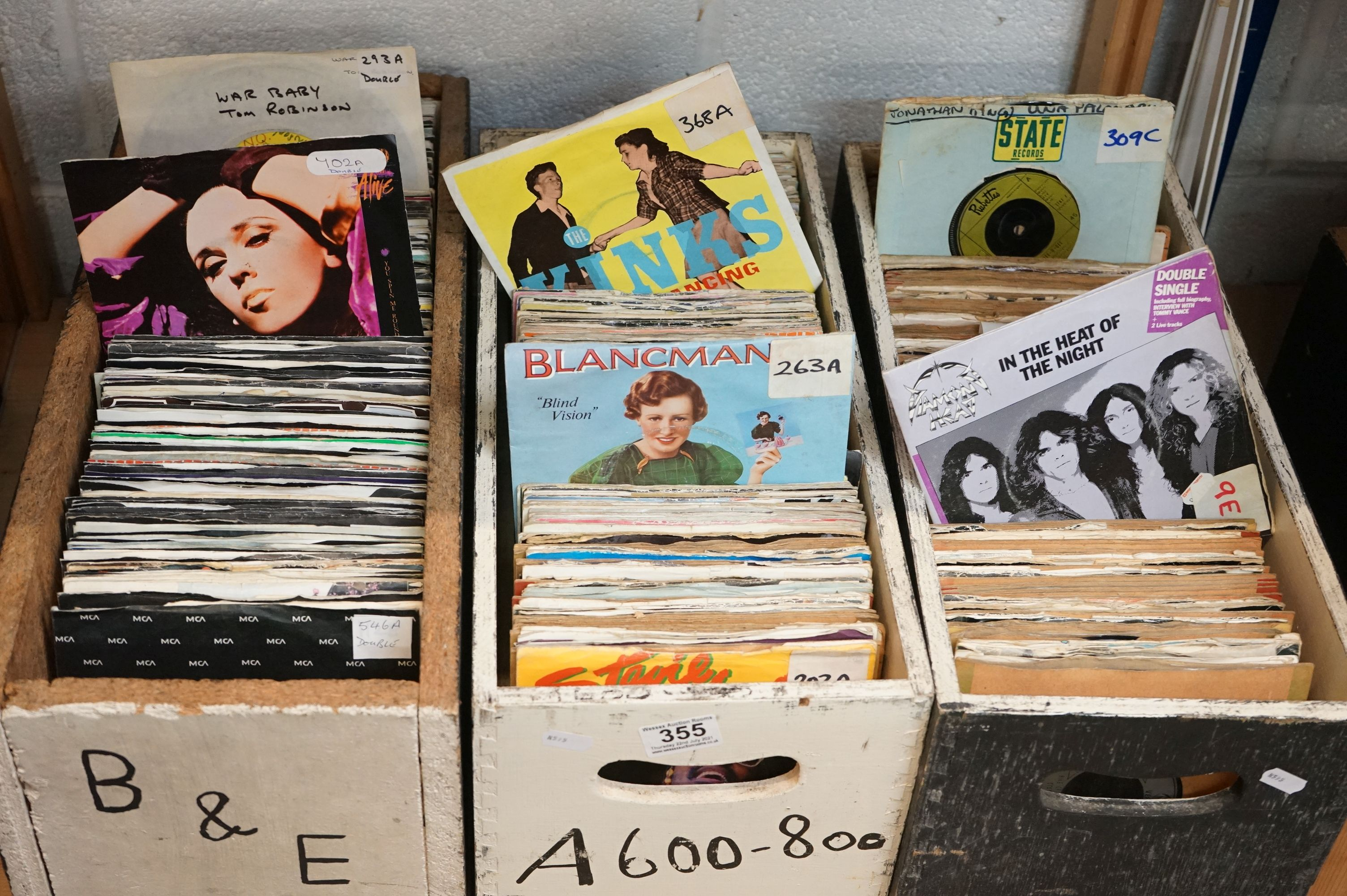 """Vinyl - Towards 600 7"""" singles spanning the genres and decades, company, picture and cardboard"""