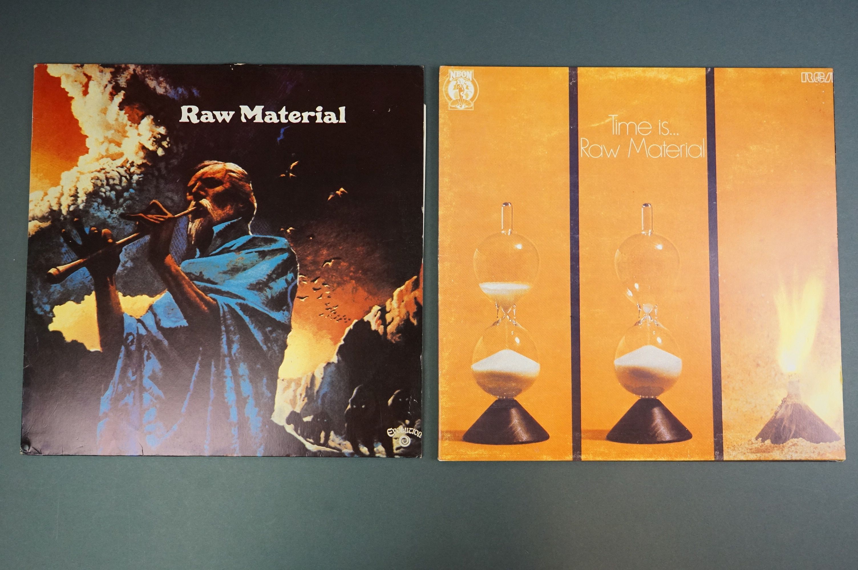 Vinyl - Two unofficial Raw Materials release LPs to include Time Is (NE8) and self titled (Z1006),