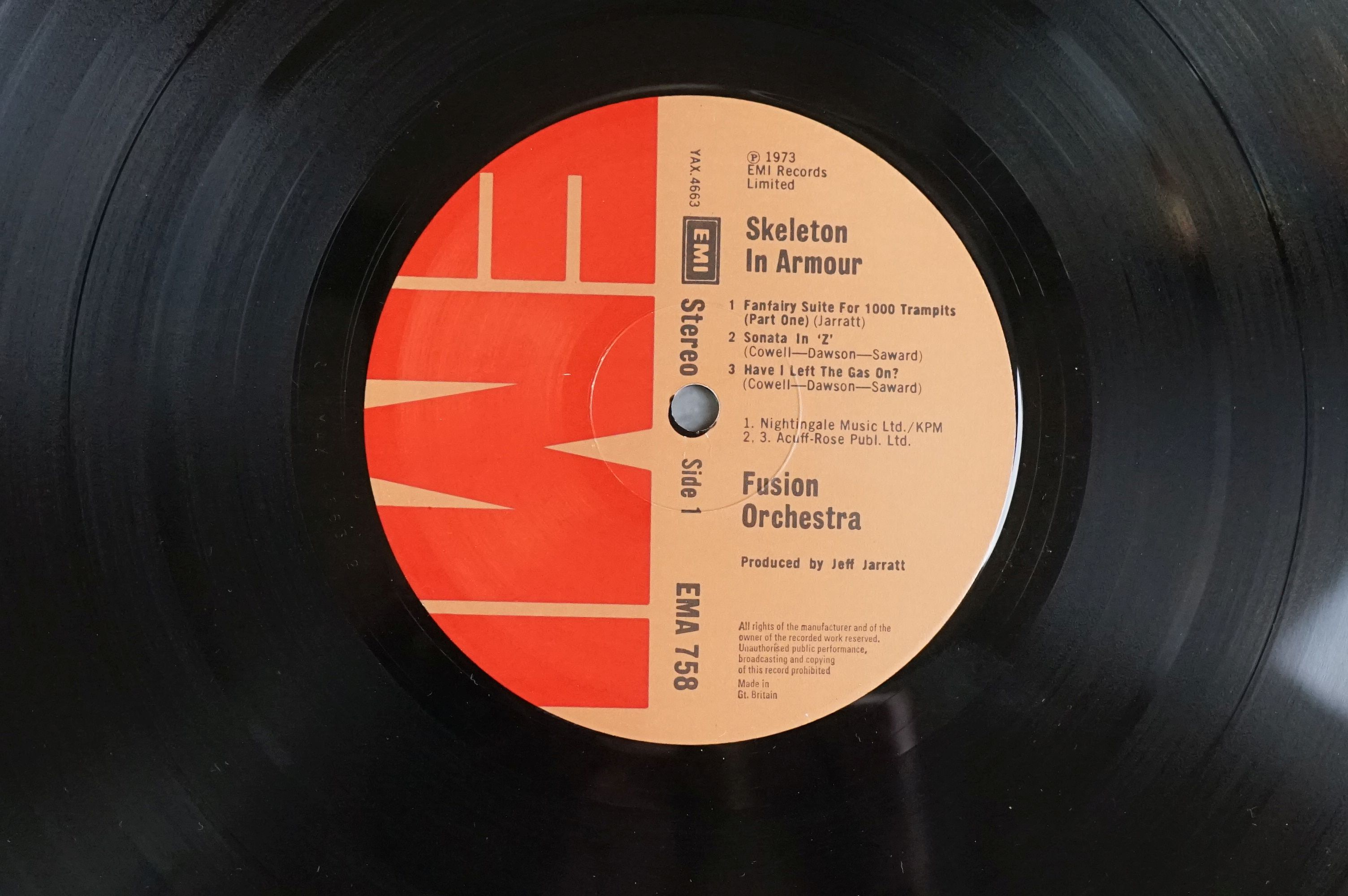 Vinyl - Fusion Orchestra Skeleton In Armour LP EMA758, sleeve vg+ with buffering to corners, - Image 5 of 6