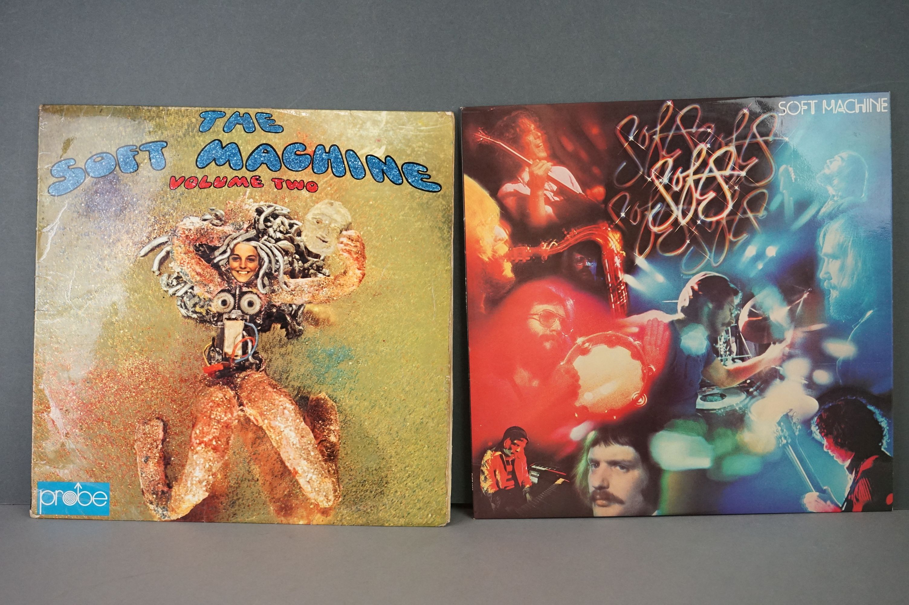 Vinyl - Two Soft Machine vinyl LP's to include Softs (EMI Records SHSP 4056), Volume Two (Probe